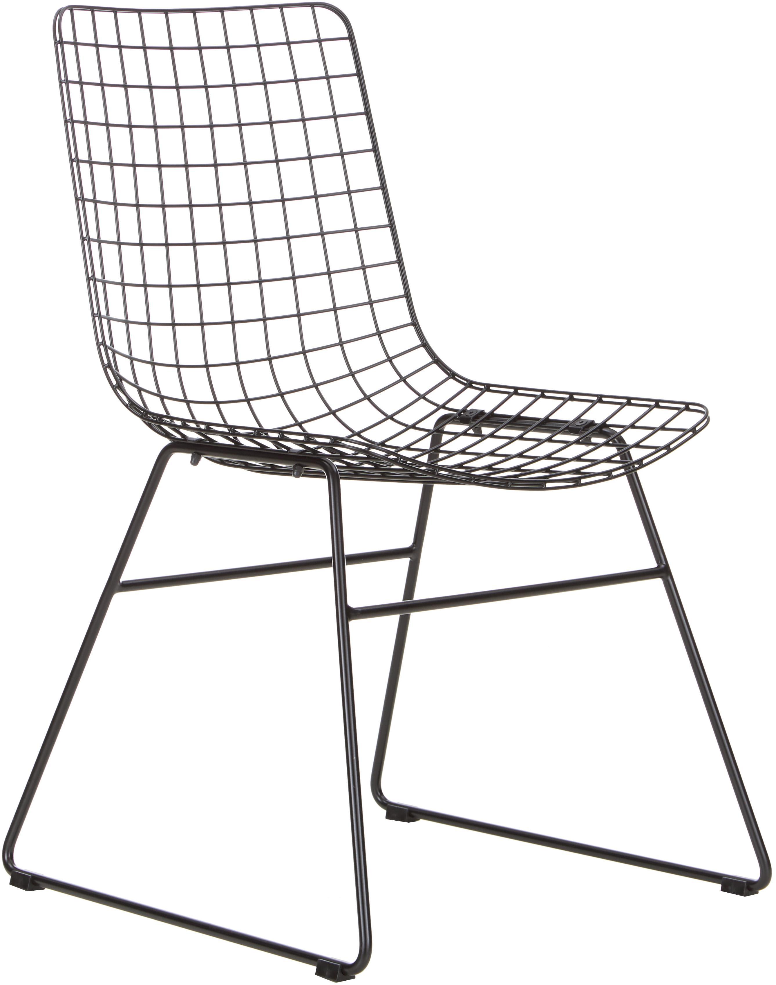 Metalen stoel Wire in zwart, Gepoedercoat metaal, Zwart, B 47 x D 54 cm
