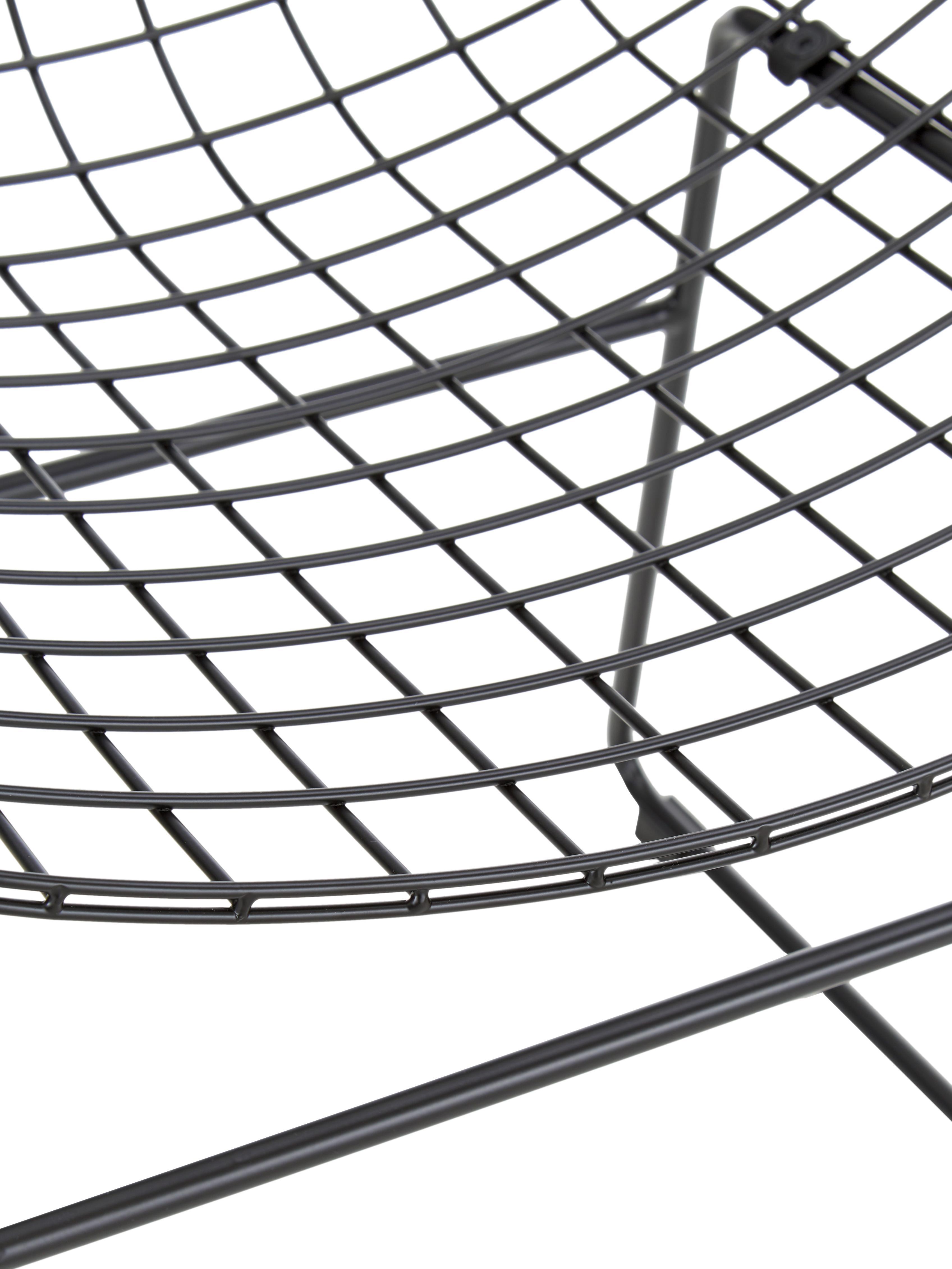 Metall-Stuhl Wire in Schwarz, Metall, pulverbeschichtet, Schwarz, 47 x 54 cm