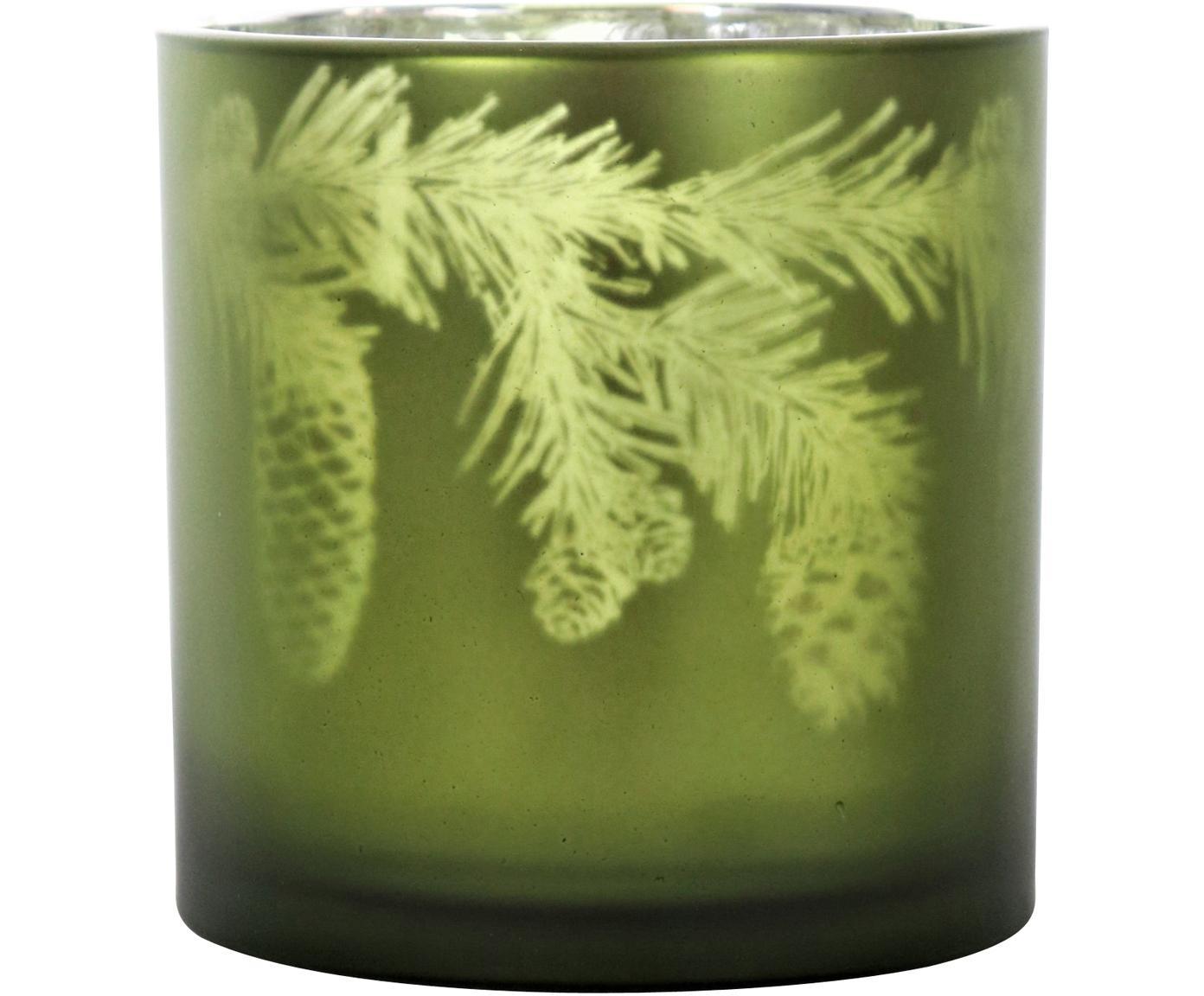 Windlicht Woods, Glas, Grün, Silberfarben, Ø 15 x H 15 cm