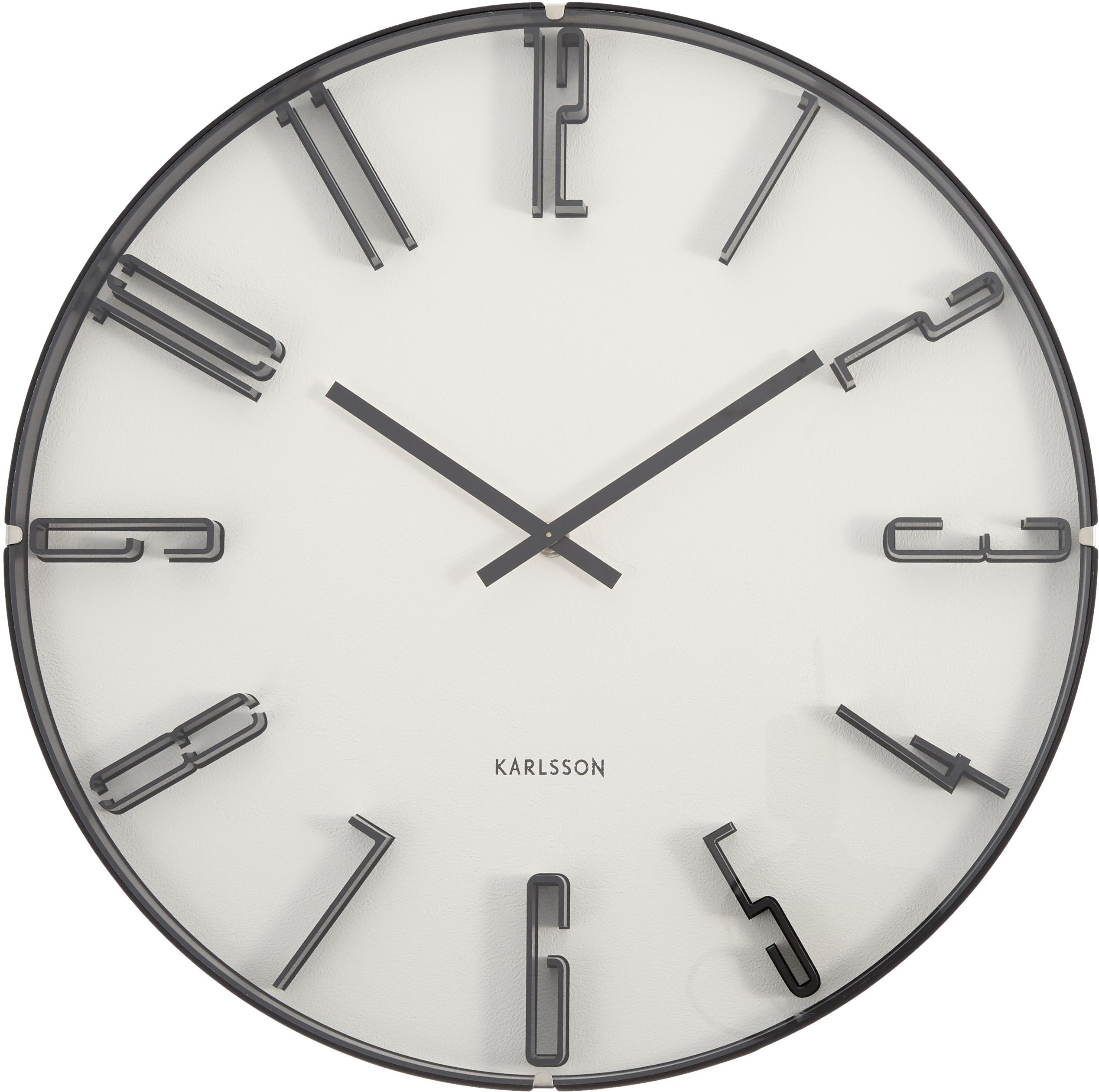 Wanduhr Sentient, Kunststoff, Weiss, Schwarz, Ø 40 cm