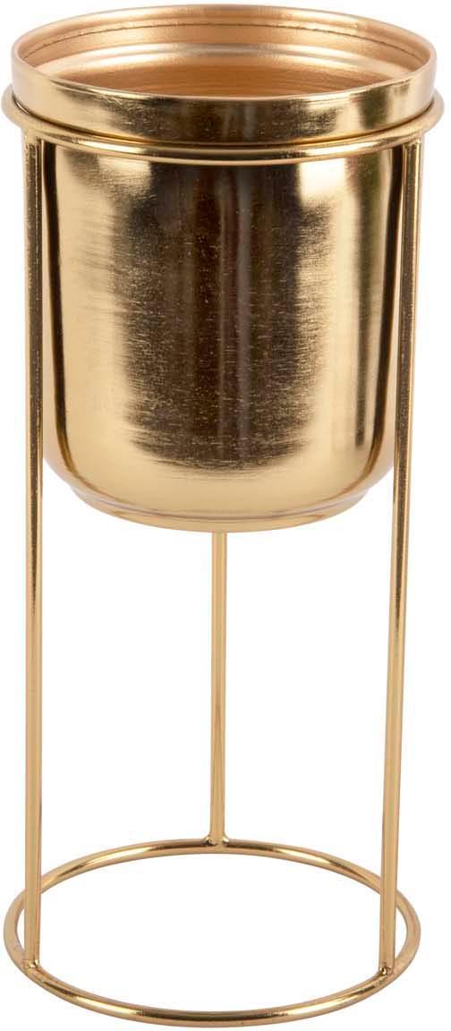 Kleiner Übertopf Tub aus Metall, Metall, beschichtet, Messingfarben, Ø 12 x H 27 cm