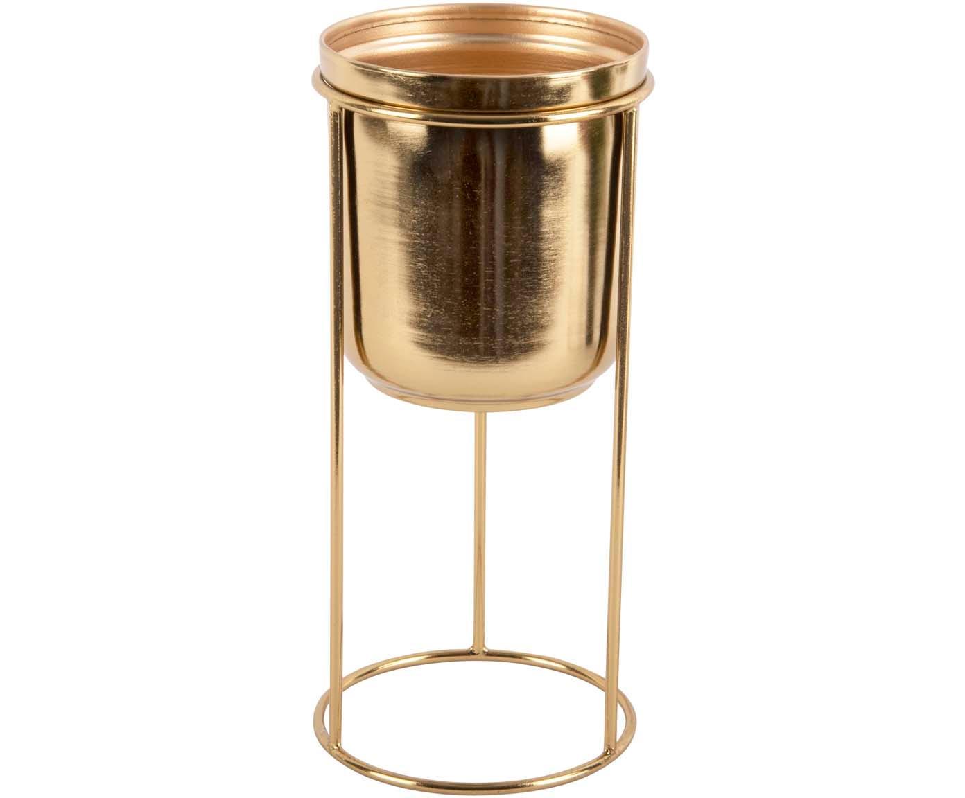 Übertopf Tub, Metall, beschichtet, Messingfarben, Ø 12 x H 27 cm