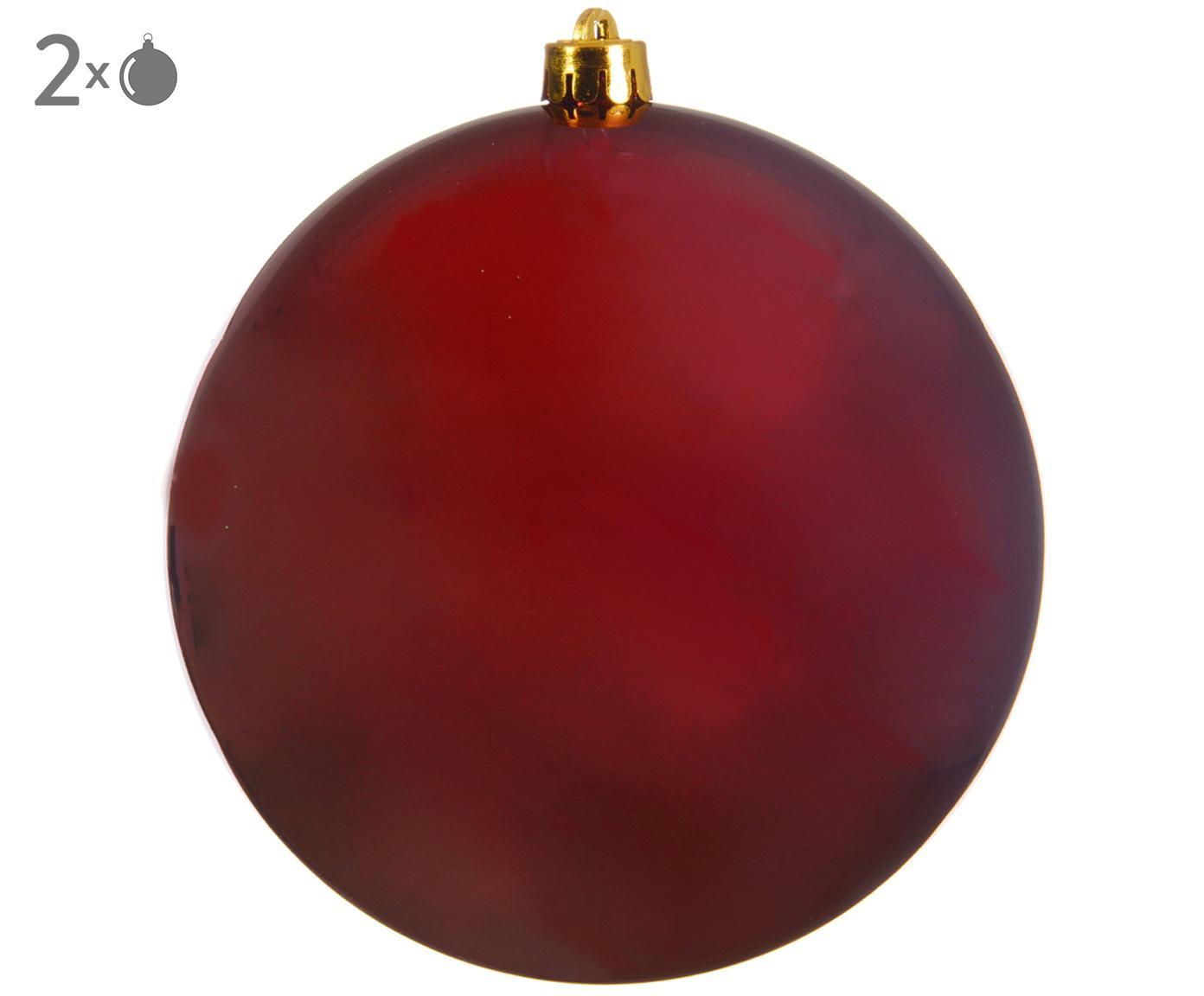 Kerstballen Minstix, 2 stuks, Kunststof, Rood, Ø 14 cm