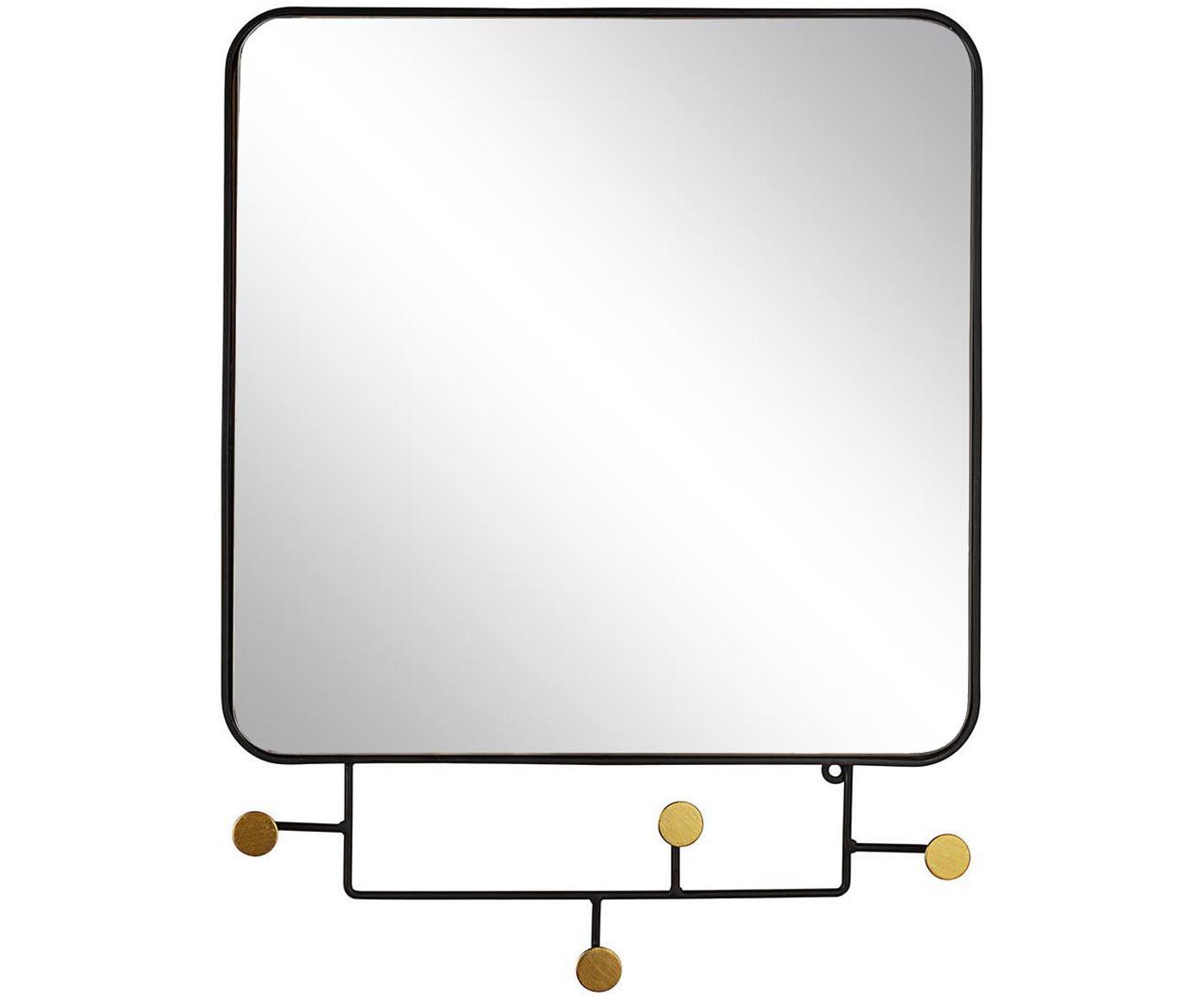 Espejo de pared Korbit, Negro, dorado, An 66 x Al 51 cm