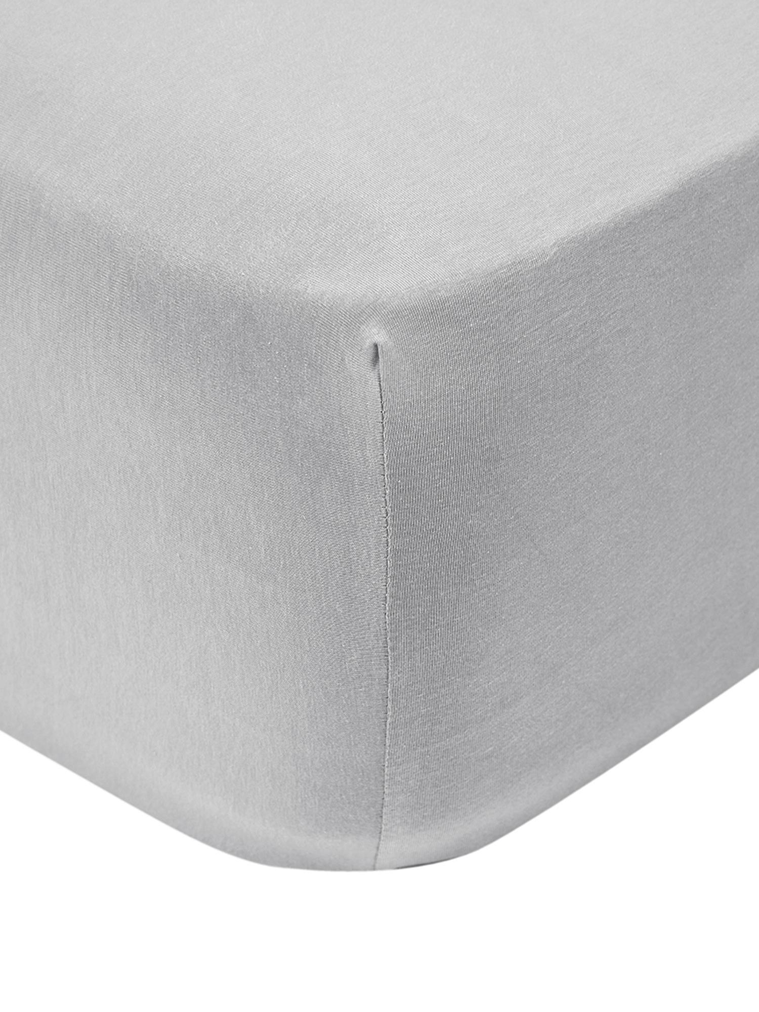 Jersey topper hoeslaken Lara, 95% katoen, 5% elastaan, Lichtgrijs, 90 x 200 cm