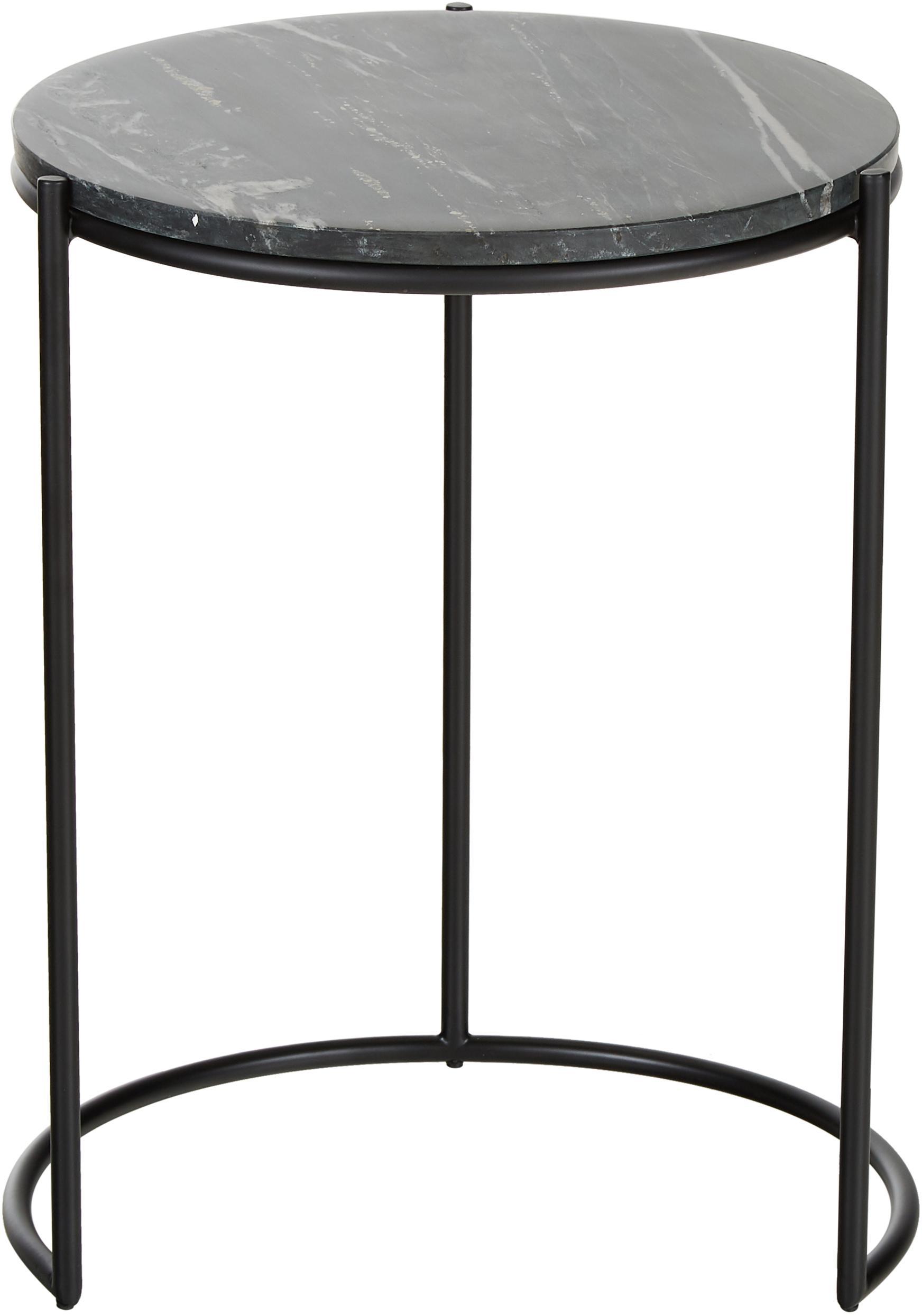 Set 2 tavolini in marmo Ella, Ripiani: marmo, Struttura: metallo verniciato a polv, Piani d'appoggio: marmo nero Struttura: nero opaco, Set in varie misure