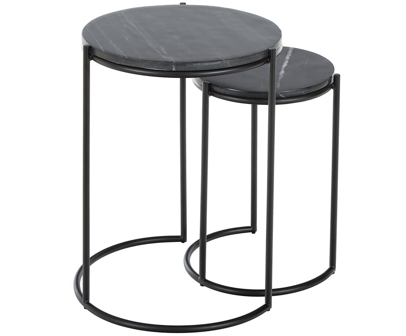 Set de mesas auxiliares de mármol Ella, Tablero: mármol natural, Estructura: metal con pintura en polv, Negro veteado, negro, Tamaños diferentes