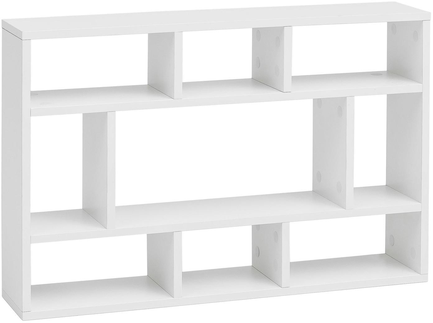 Kleines Wandregal Alek in Weiß Matt, Spanplatte, melaminbeschichtet, Weiß, 75 x 51 cm