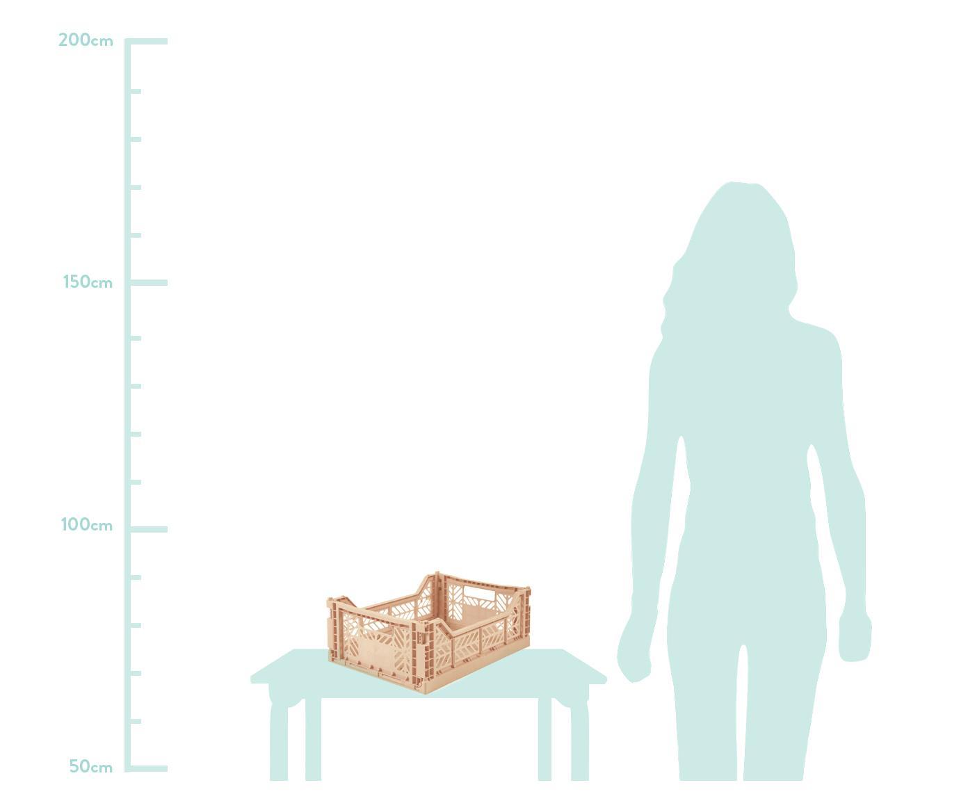 Cesto medio pieghevole e impilabile Milk Tea, Materiale sintetico riciclato, Beige, Larg. 40 x Alt. 14 cm