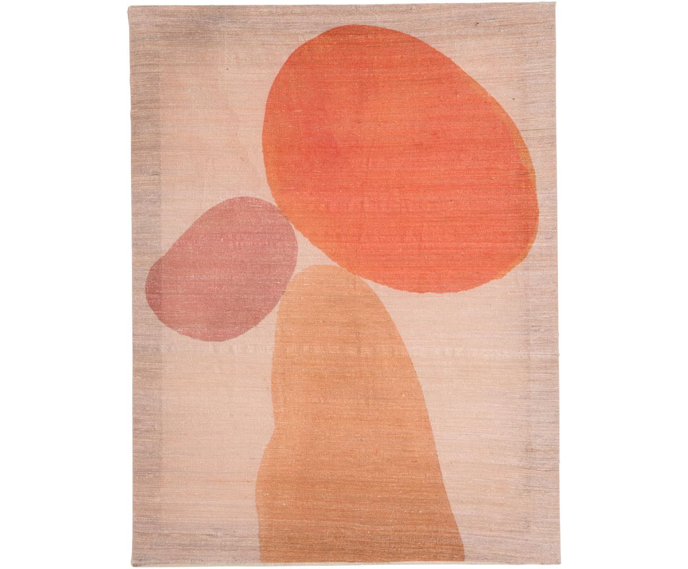 Handbeschilderde canvasdoek Dots, Khadi zijde, Oranje, roze, beige, 50 x 65 cm