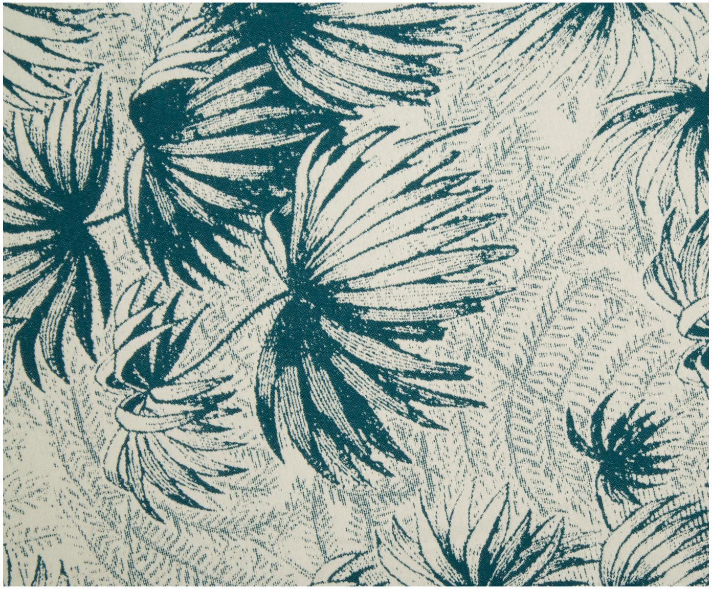 Plaid Nova Flower, 85%Baumwolle, 8%Viskose, 7%Polyacryl, Grüntöne, Weiß, 145 x 220 cm