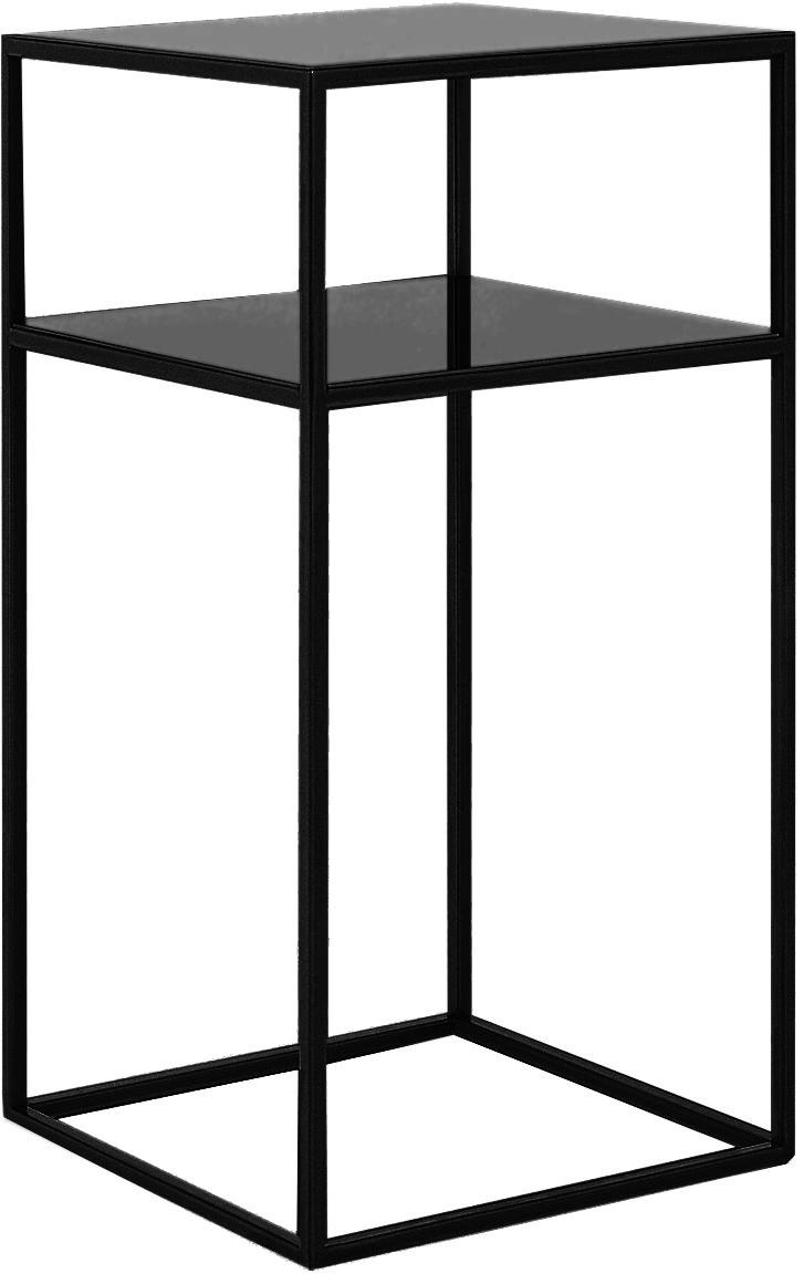 Mesa auxiliar de metal Tensio Oli, Metal con pintura en polvo, Negro, An 30 x F 30 cm