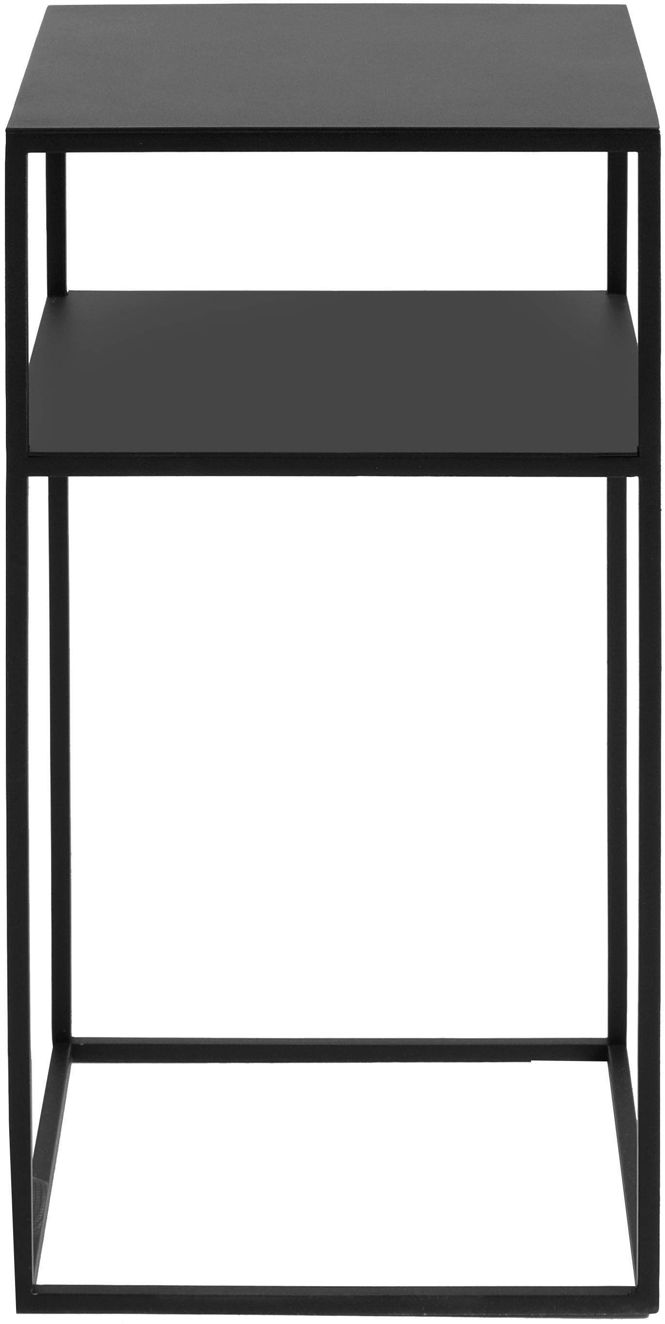 Tavolino in metallo nero Tensio Oli, Metallo verniciato a polvere, Nero, Larg. 30 x Prof. 30 cm