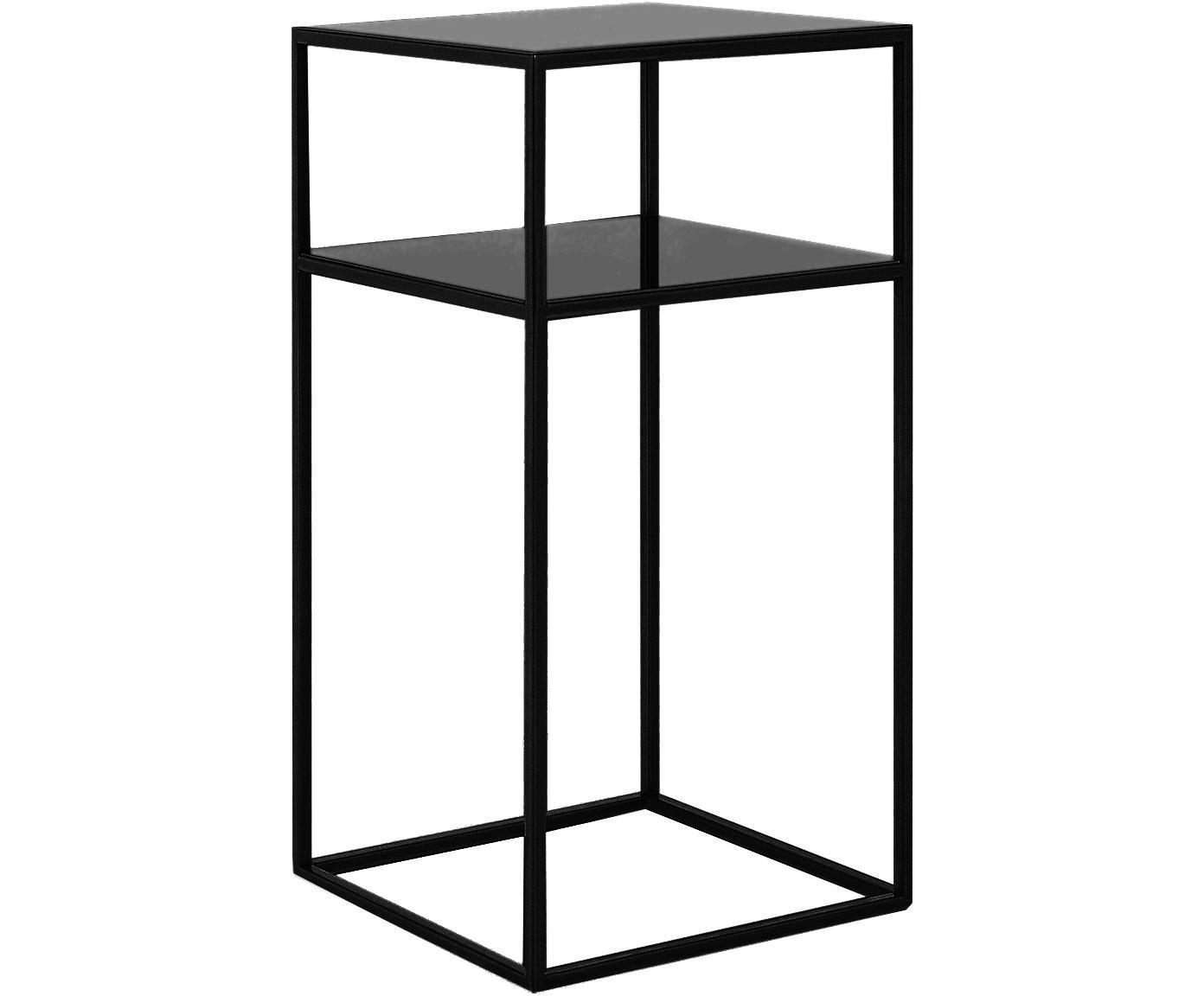 Stolik pomocniczy z metalu Tensio Oli, Metal malowany proszkowo, Czarny, S 30 x T 30 cm