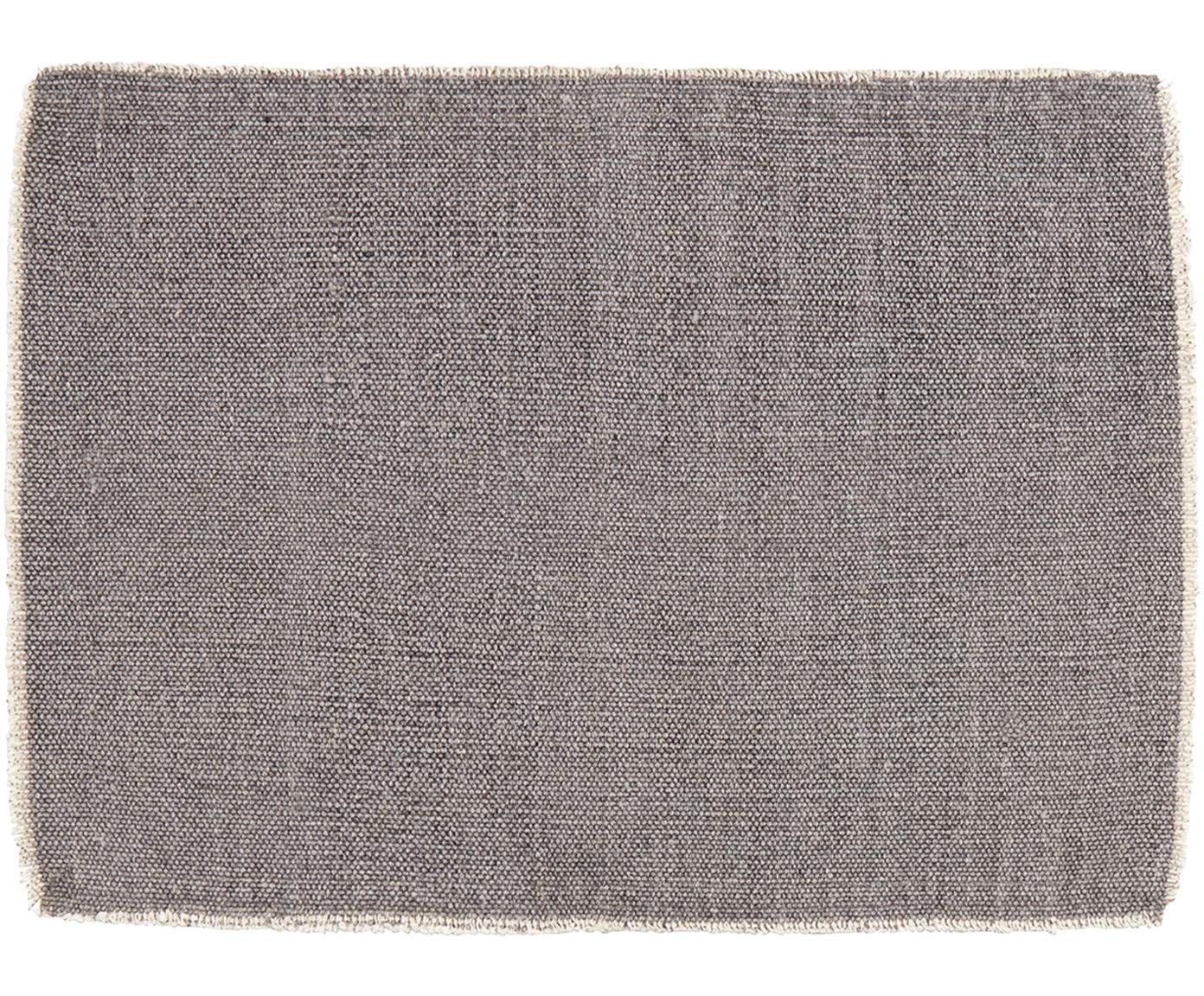 Tischsets Edge, 6 Stück, 85% Baumwolle, 15% gemischte Fasern, Grau, 33 x 48 cm