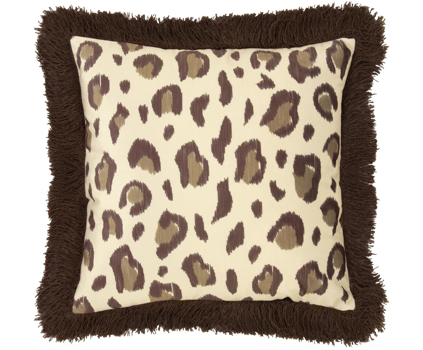 Samt-Kissenhülle Bonzo mit Leopardenprint und Fransen, Vorderseite: Polyestersamt, Rückseite: Baumwolle, Fransen: Viskose, Beige, Braun, 40 x 40 cm