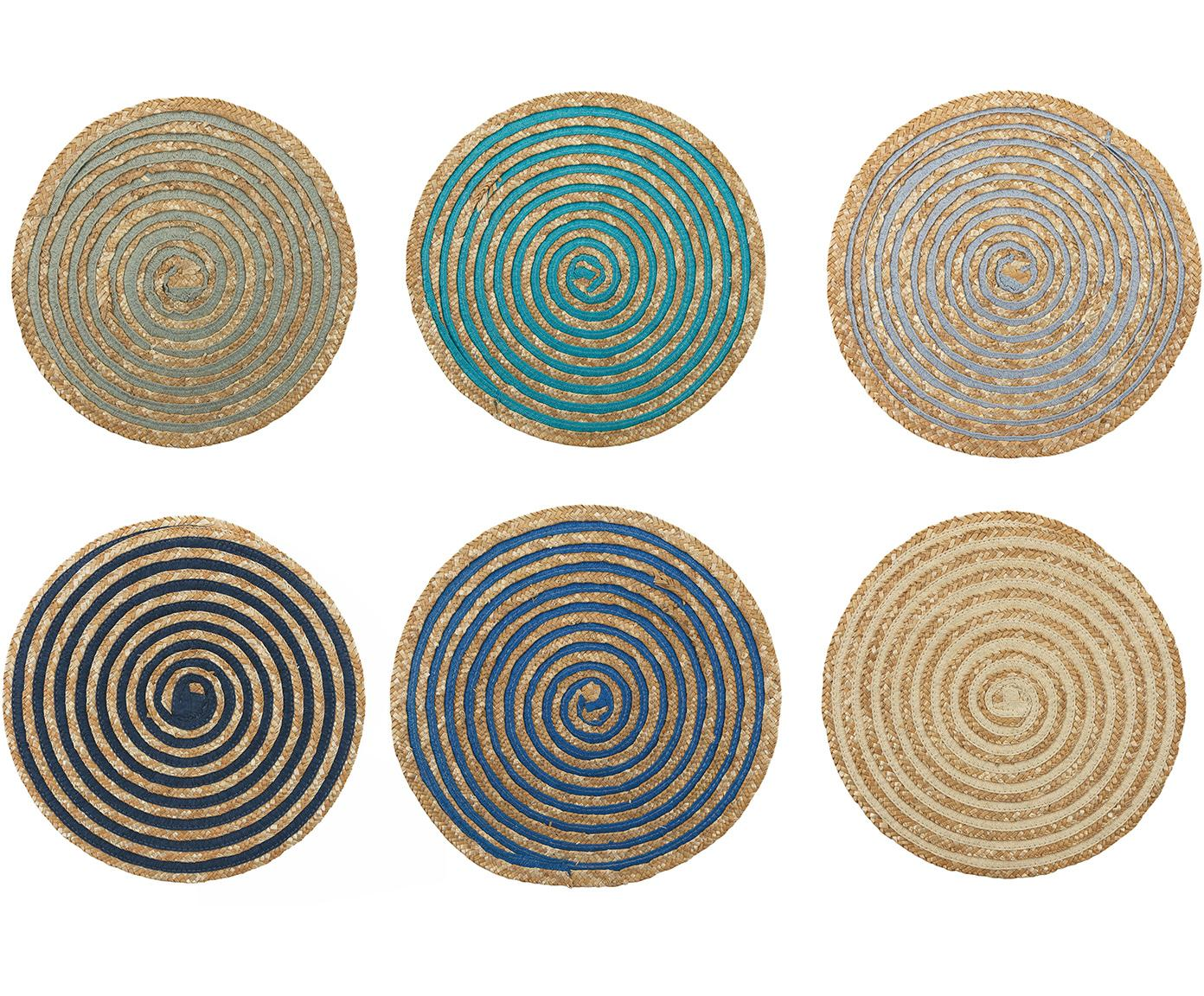 Manteles individuales redondos Baita, 6uds., Rafia, Beige, multicolor, Ø 39 cm