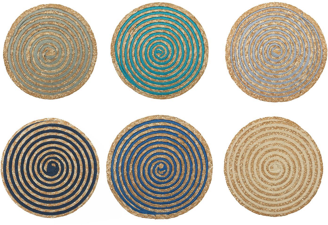 Ronde placemats Baita van bast, 6-delig, Bastvezels, Beige, multicolour, Ø 39 cm
