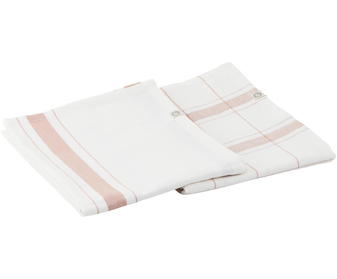 Strofinacci con righe e motivo a quadri Halida 2 pz, Cotone, Bianco, marrone torrone, Larg. 55 x Lung. 75 cm