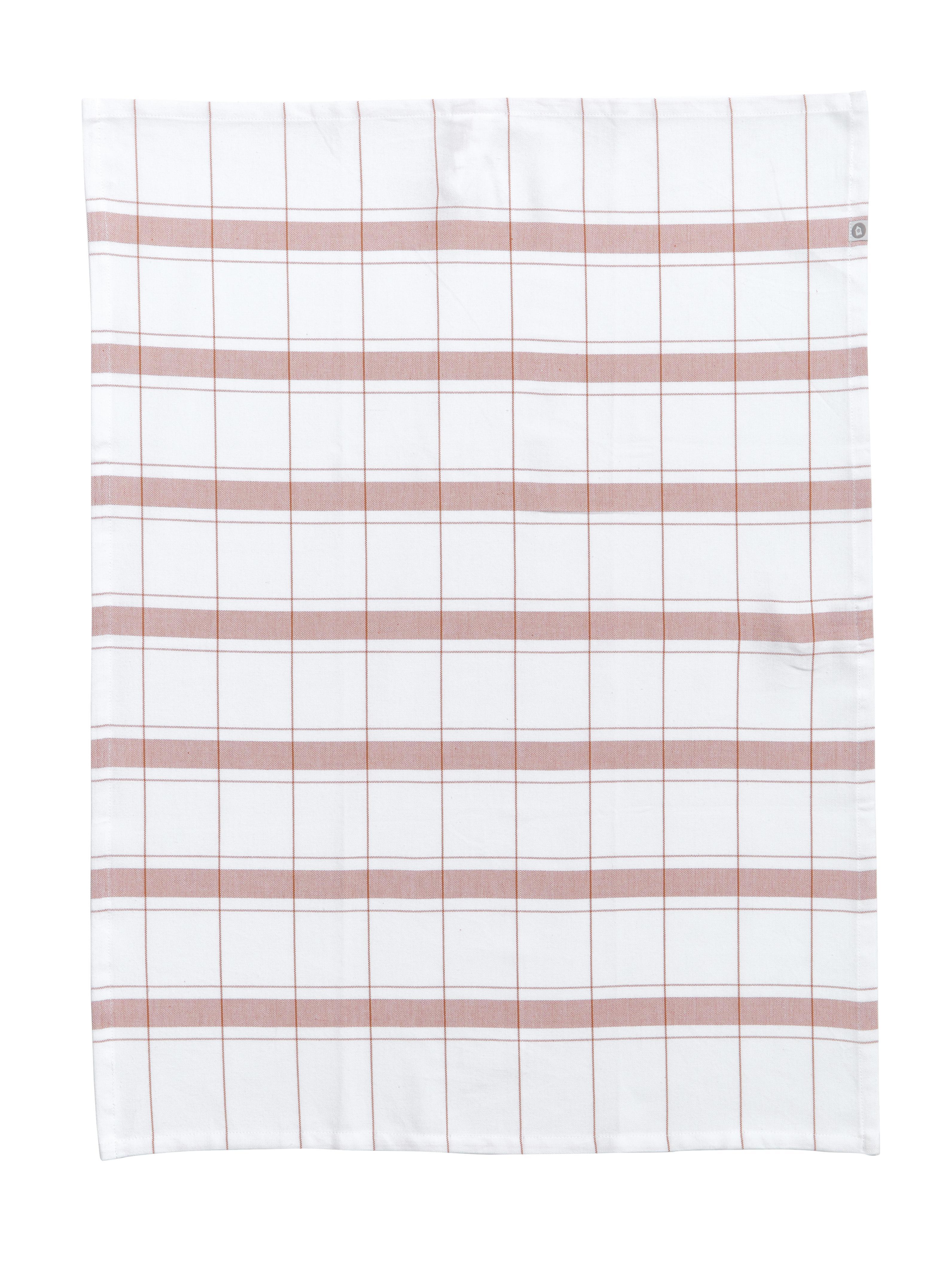 Geschirrtücher Halida mit Streifen und Karomuster, 2 Stück, 100% Baumwolle, Weiss, Nougatbraun, 55 x 75 cm