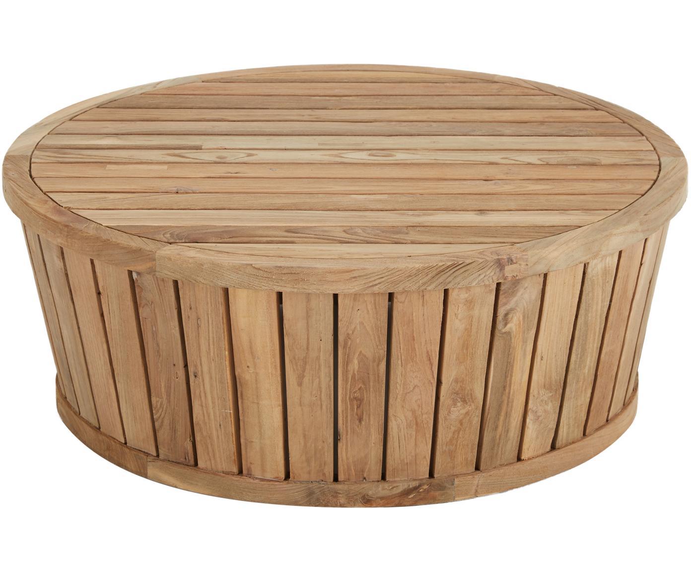 Mesa auxiliar de exterior de madera maciza Circus, Teca reciclada, Teca, Ø 80 x Al 30 cm
