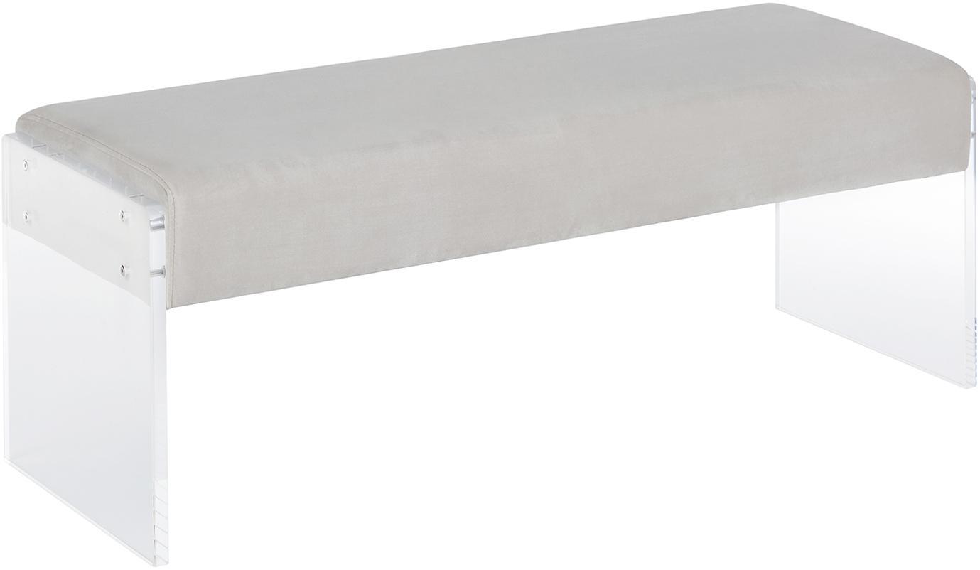 Banco de terciopelo Ayden, Tapizado: terciopelo (poliéster) 25, Patas: vidrio acrílico, Gris claro, transparente, An 116 x Al 43 cm