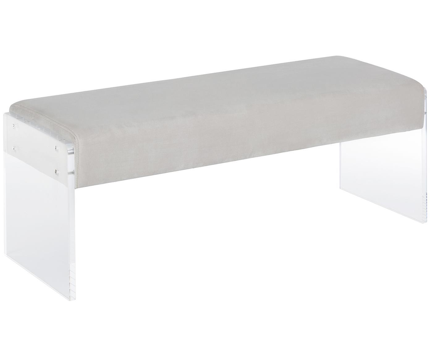 Fluwelen bank Ayden, Bekleding: fluweel (polyester), Frame: massief populierenhout, m, Poten: acrylglas, Bekleding: lichtgrijs. Frame: transparant, 116 x 43 cm
