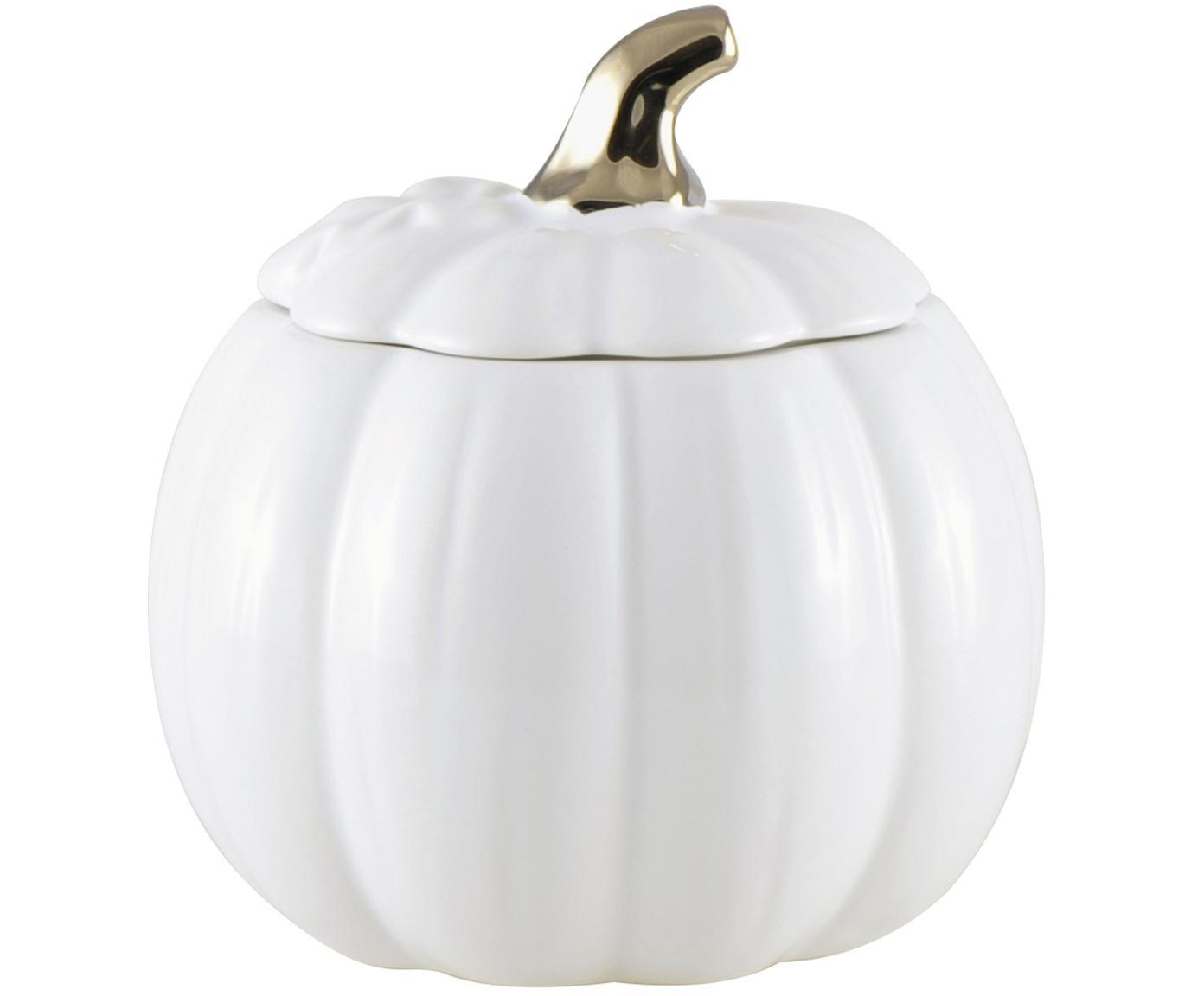 Aufbewahrungsdose Pumpkin, Keramik, Weiß, Goldfarben, Ø 18 x H 20 cm