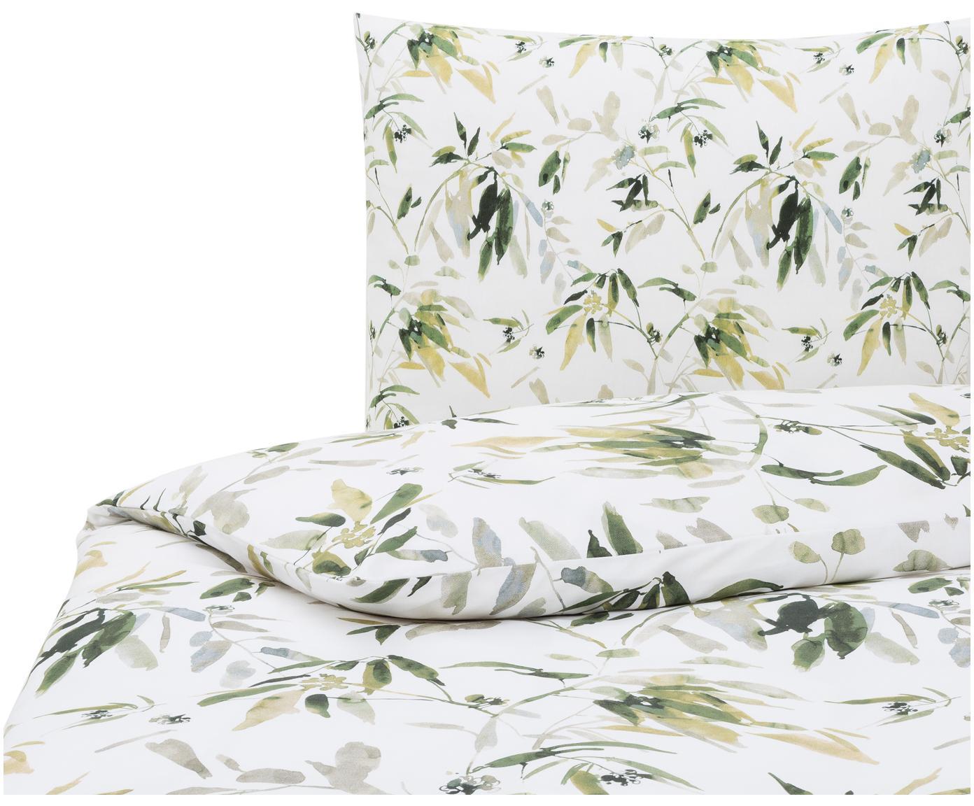 Katoensatijnen dekbedovertrek Rimba, Weeftechniek: satijn, Wit, groentinten, 140 x 220 cm