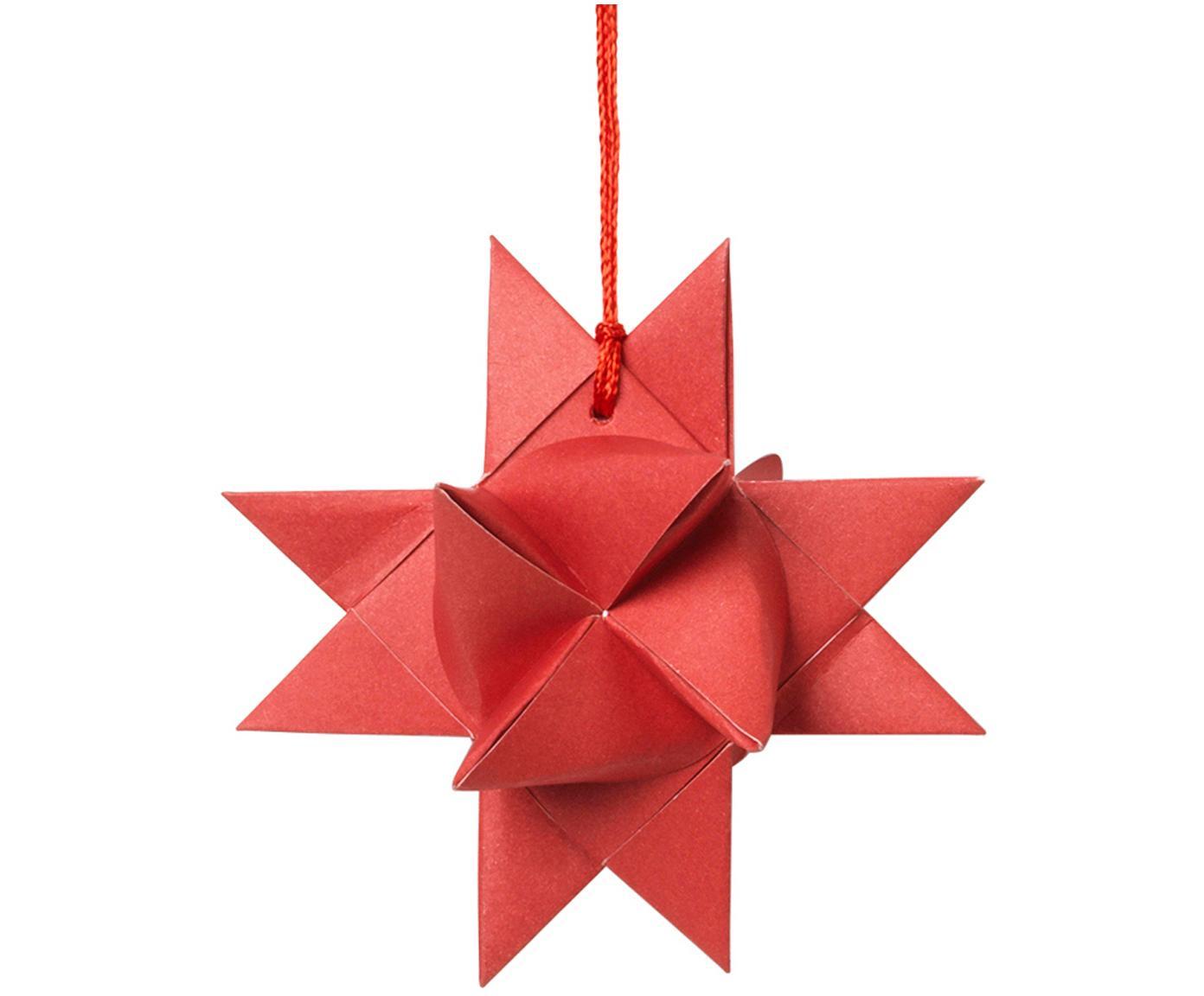 Baumanhänger Star Origami, 4 Stück, Papier, Rot, B 11 x T 11 cm