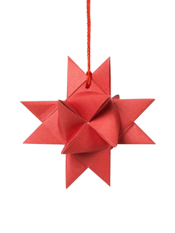 Adorno navideño Star Origami, 4uds., Papel, Rojo, An 11 x F 11 cm
