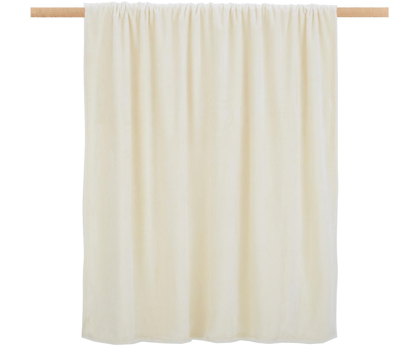 Weiches Fleece-Plaid Doudou in Offwhite, 100% Polyester, Gebrochenes Weiß, 130 x 160 cm