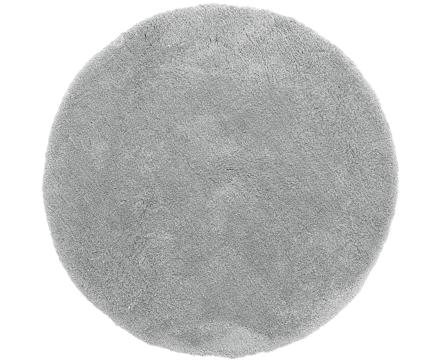 Rond hoogpolig vloerkleed Leighton in donkergrijs, Donkergrijs, Ø 120 cm