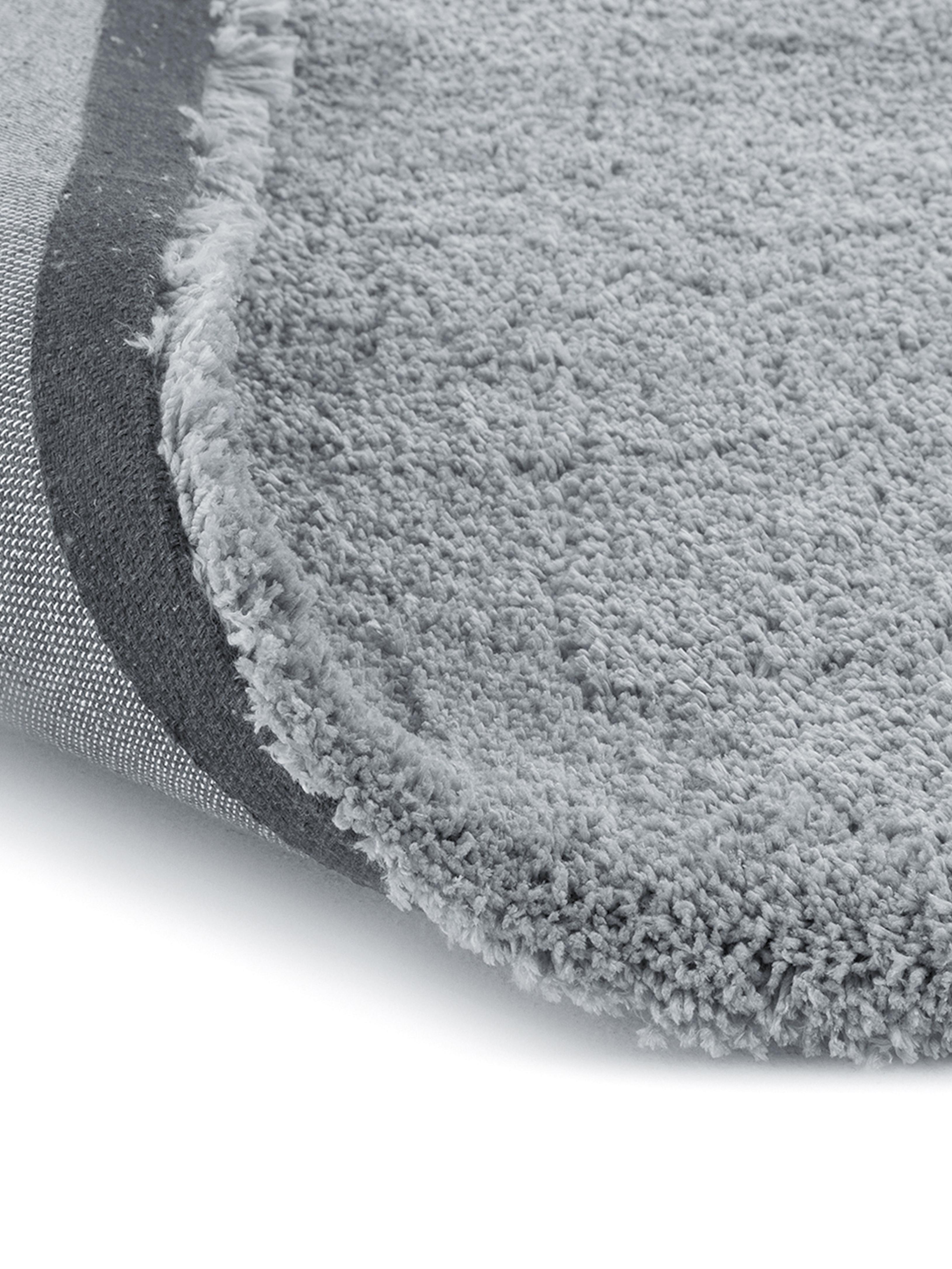 Flauschiger runder Hochflor-Teppich Leighton in Grau, Flor: 100% Polyester (Mikrofase, Grau, Ø 120 cm (Größe S)