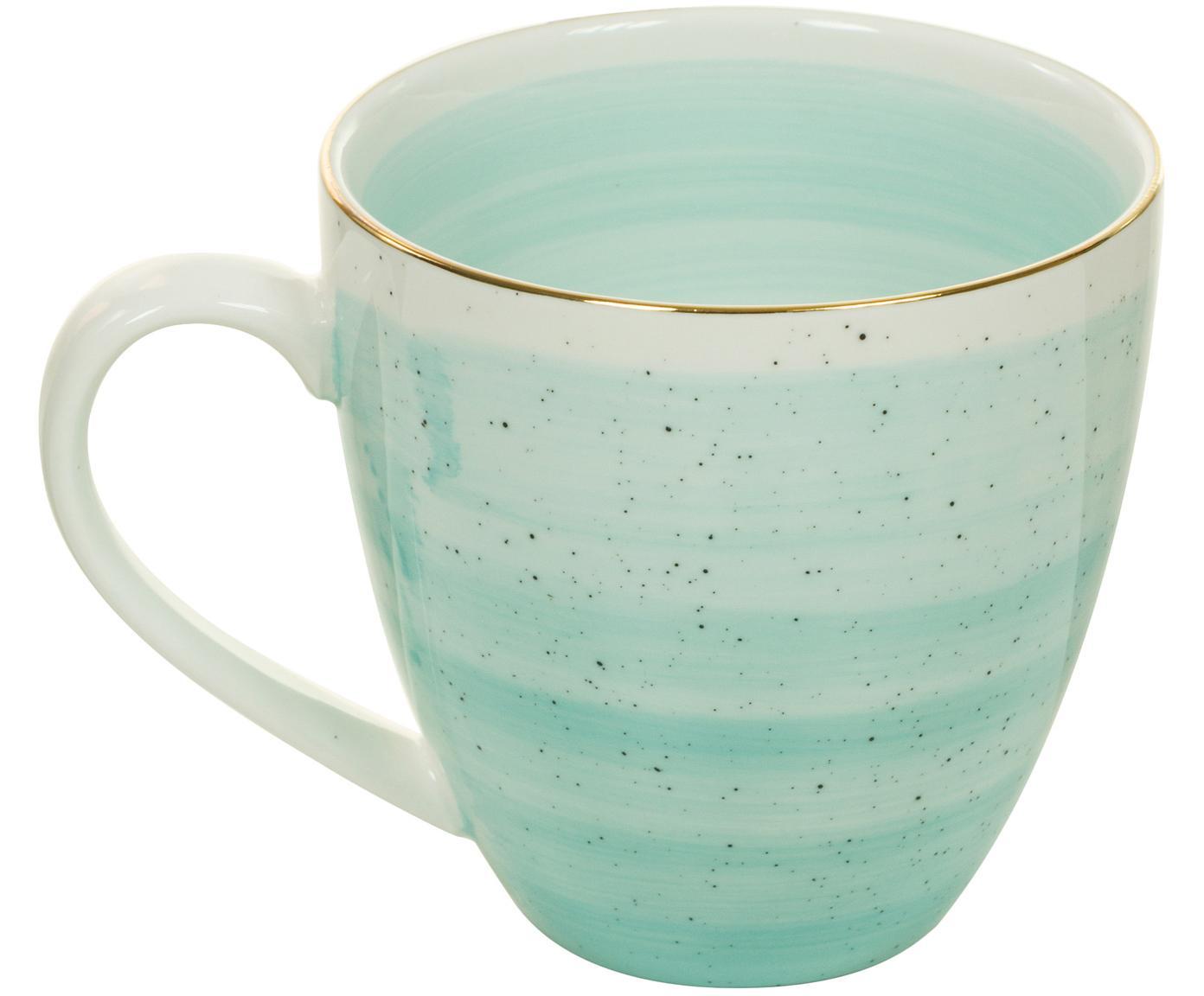 Tazas café artesanales Bol, 2uds., Porcelana, Azul turquesa, Ø 9 x Al 9 cm