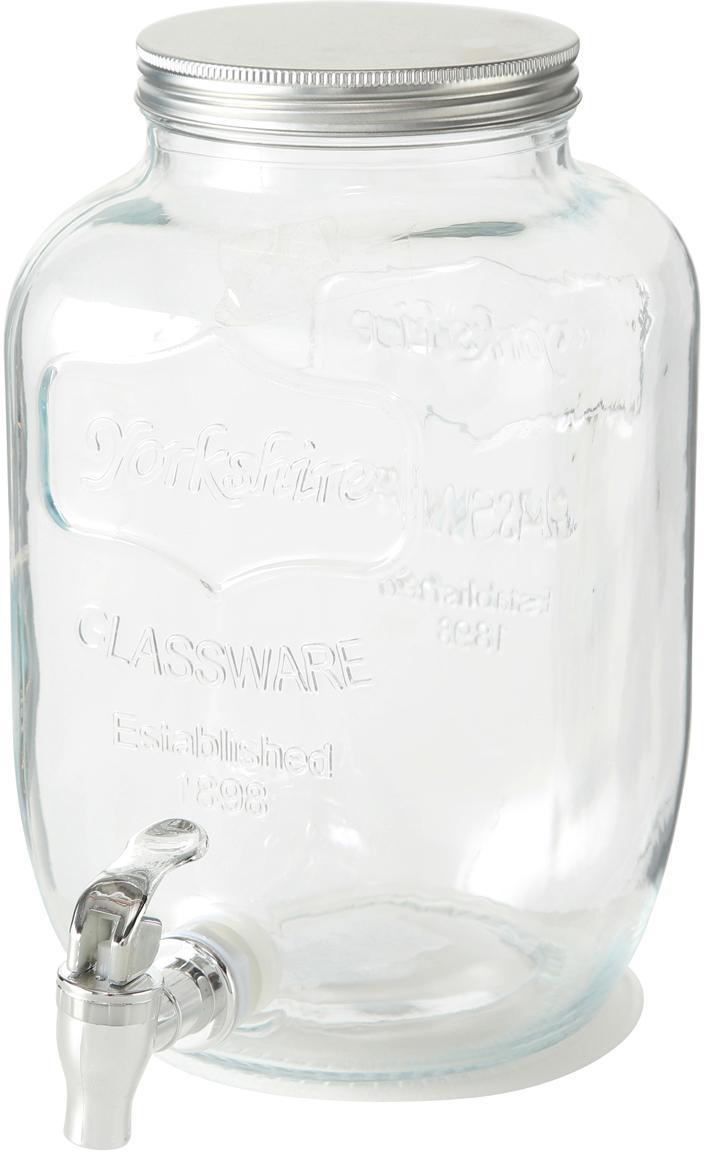 Dispensador de bebidas Dastan, Recipiente: vidrio, Tapa: metal, Transparente, Ø 15 x Al 26 cm