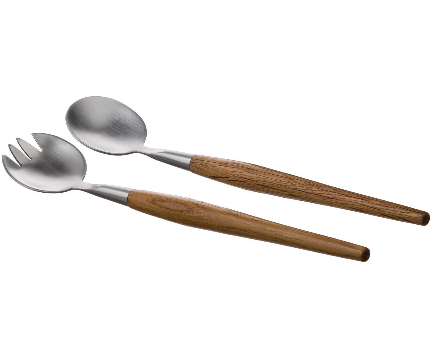 Komplet sztućców do sałatek Retro, 2 elem., Drewno dębowe, stal, D 29 cm