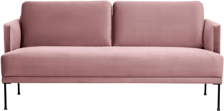 Fluwelen bank Fluente (2-zits), Bekleding: fluweel (hoogwaardig poly, Frame: massief grenenhout, Poten: gepoedercoat metaal, Roze, B 166 x D 85 cm