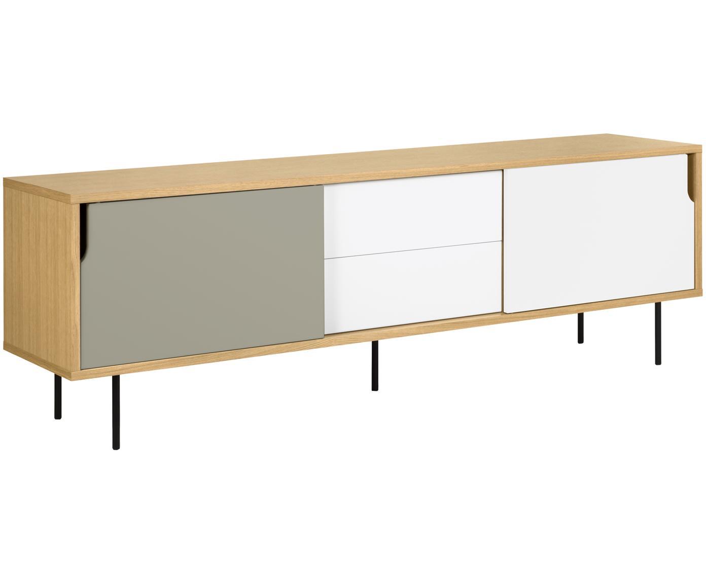 Sideboard Danny im Skandi Design, Oberfläche: Eichenechtholzfurnier, Korpus: Wabenkern Panel, Beine: Stahl, lackiert, Eiche, Weiß, Grau, 201 x 65 cm