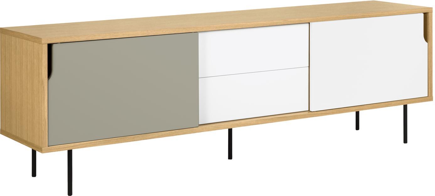 Dressoir Danny in scandi design, Frame: honingraat kernpaneel, Poten: gelakt staal, Eikenhoutkleurig, wit, grijs, 201 x 65 cm