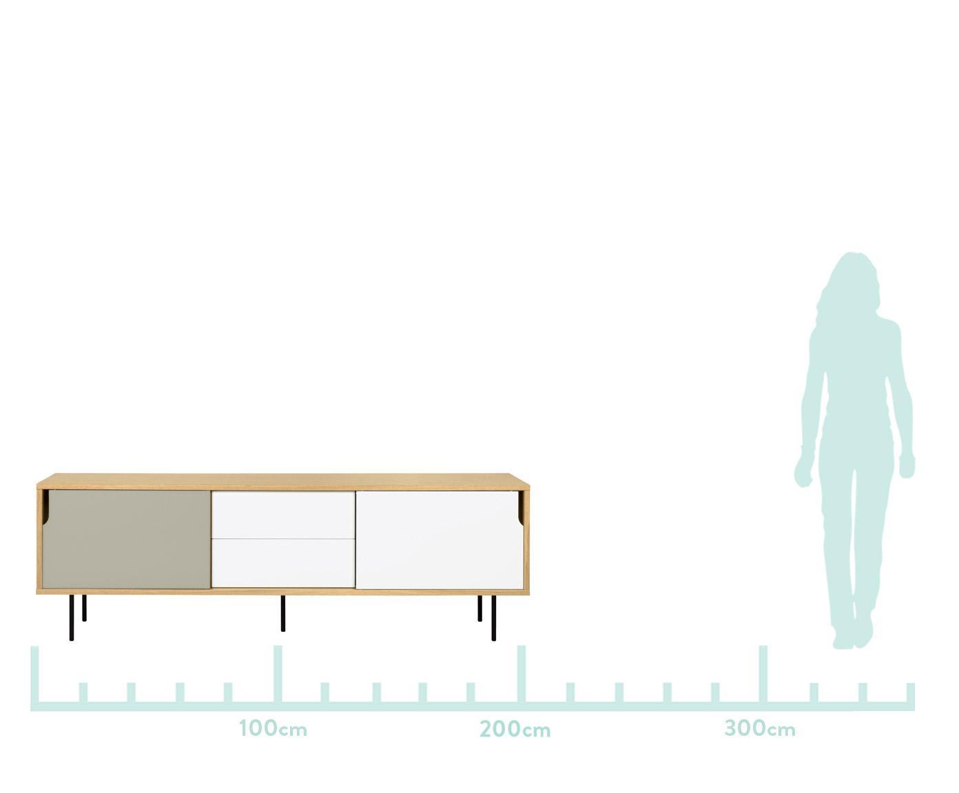 Komoda scandi Danny, Korpus: płyta o strukturze plastr, Nogi: stal lakierowana, Drewno dębowe, biały, szary, S 201 x W 65 cm