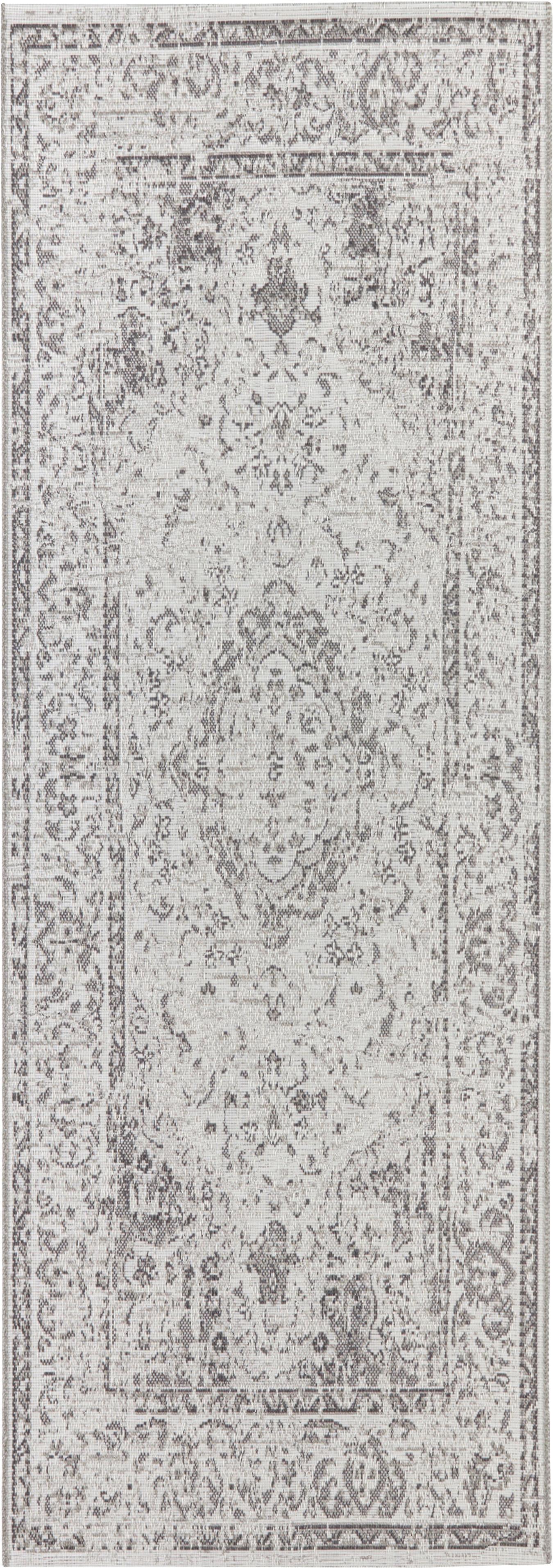 Passatoia da interno-esterno Cenon, 100% polipropilene, Crema, grigio, Larg. 77 x Lung. 200 cm