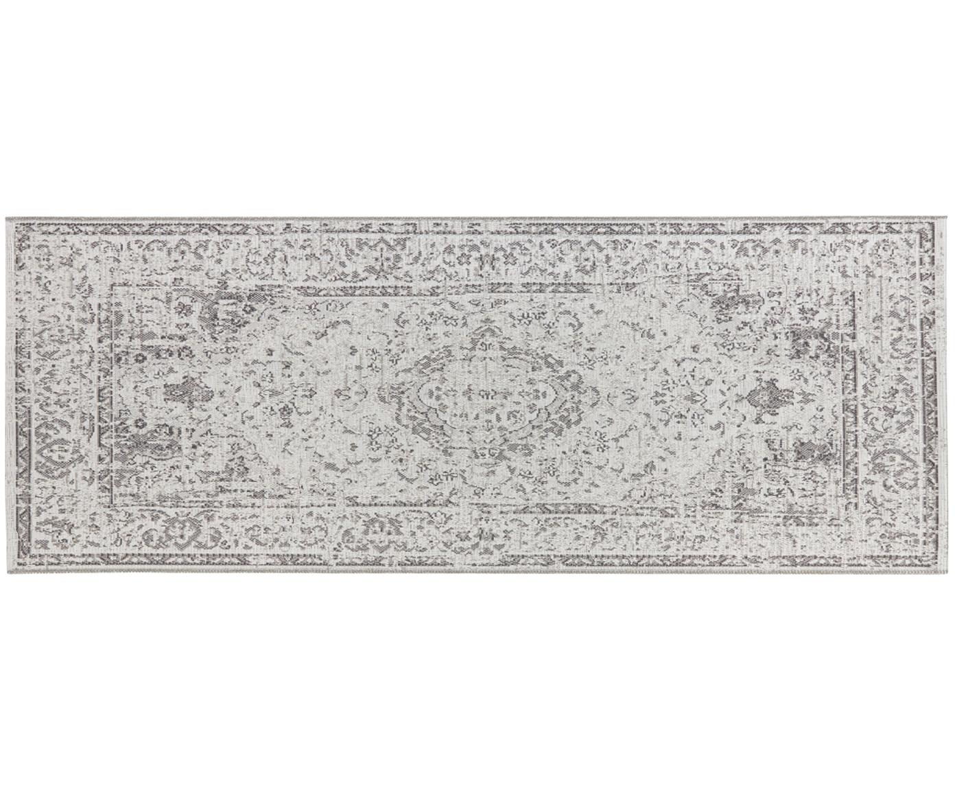 Alfombra de interior y exterior Cenon, 100%polipropileno, Crema, gris, An 77 x L 200 cm