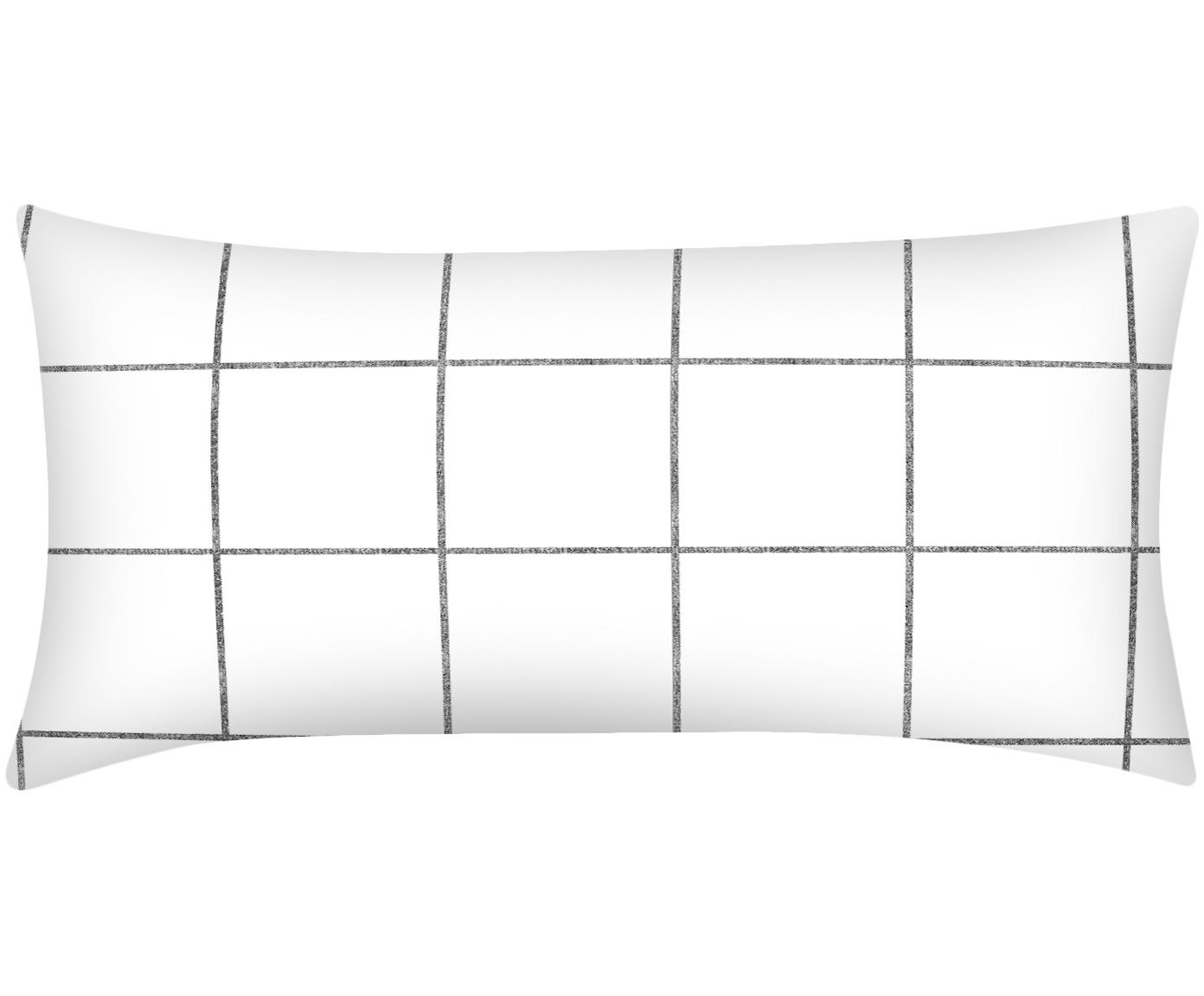Karierte Baumwollperkal-Kissenbezüge Juna in Schwarz/Weiß, 2 Stück, Webart: Perkal Fadendichte 180 TC, Weiß, Schwarz, 40 x 80 cm