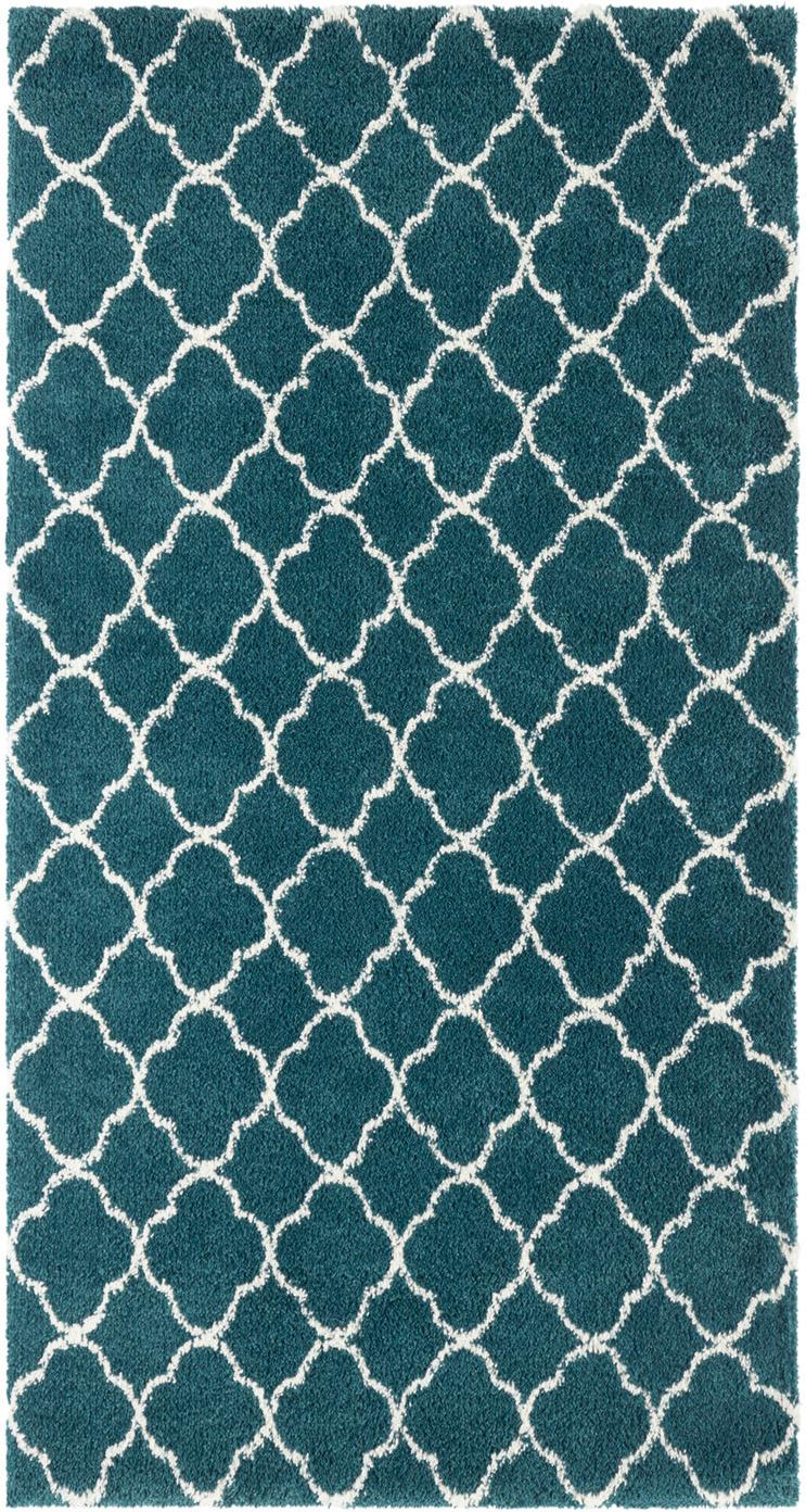Hoogpolig vloerkleed Grace, Bovenzijde: polypropyleen, Onderzijde: jute, Donkergroen, crèmekleurig, B 80 x L 150 cm (maat XS)