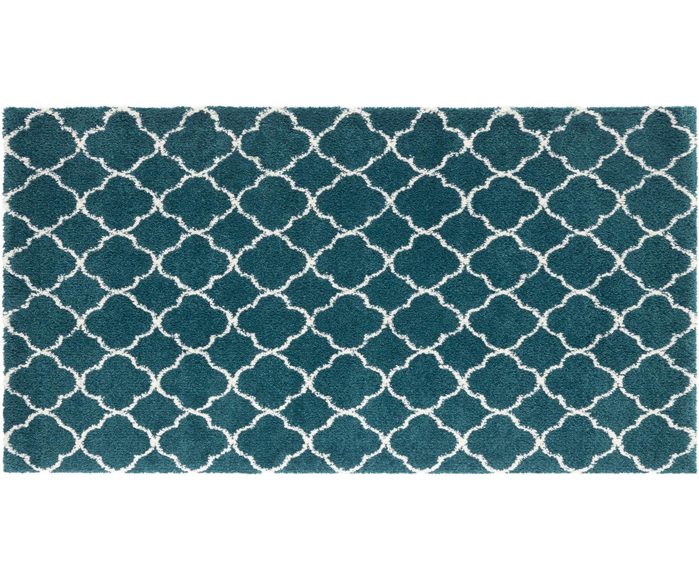 Hochflor-Teppich Grace in Petrol/Creme, Flor: 100% Polypropylen, Petrolgrün, Cremefarben, B 80 x L 150 cm (Größe XS)