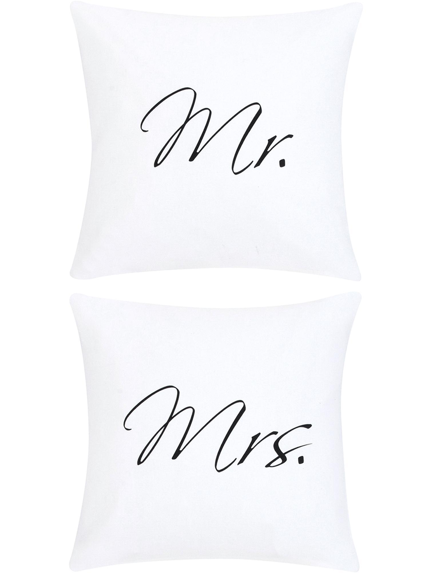 Kissenhüllen Mr&Mrs mit Schriftzug, 2er-Set, Webart: Panama, Weiß, Schwarz, 40 x 40 cm