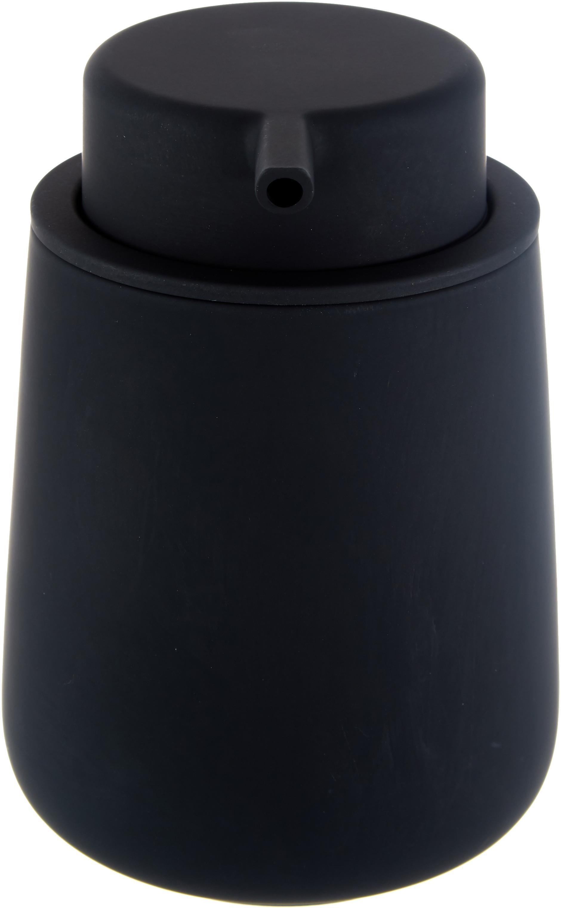 Distributeur de savon en porcelaine Push, Noir, mat
