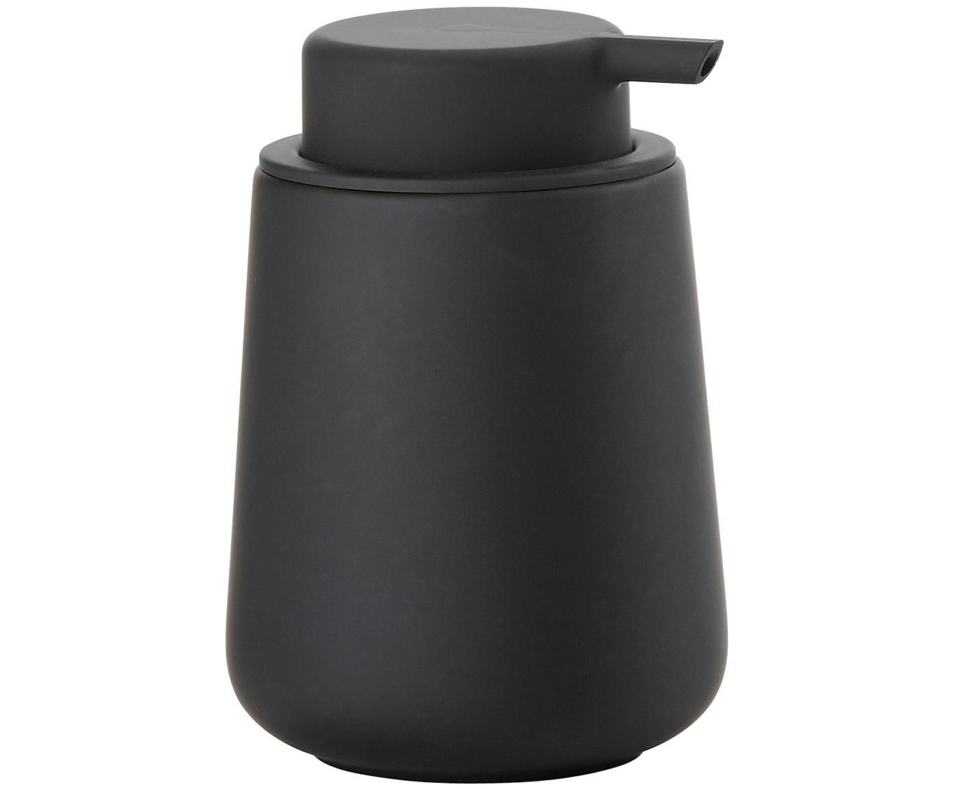 Dosificador de jabón Push, Recipiente: porcelana, Dosificador: plástico, Negro, Ø 8 x Al 12 cm