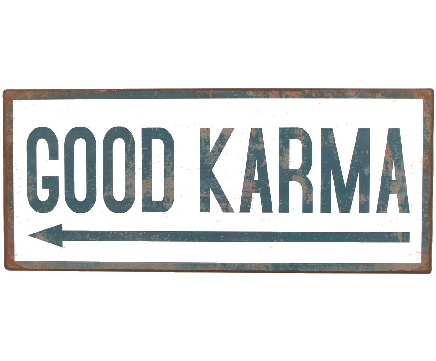 Wandbord Good Karma, Metaal, met motieffolie bekleed, Wit, blauw, 31 x 13 cm
